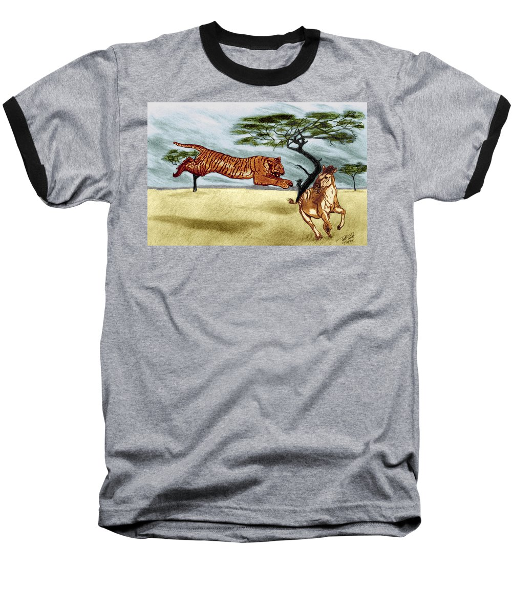 The Lunge Baseball T-Shirt featuring the drawing The Lunge by Peter Piatt