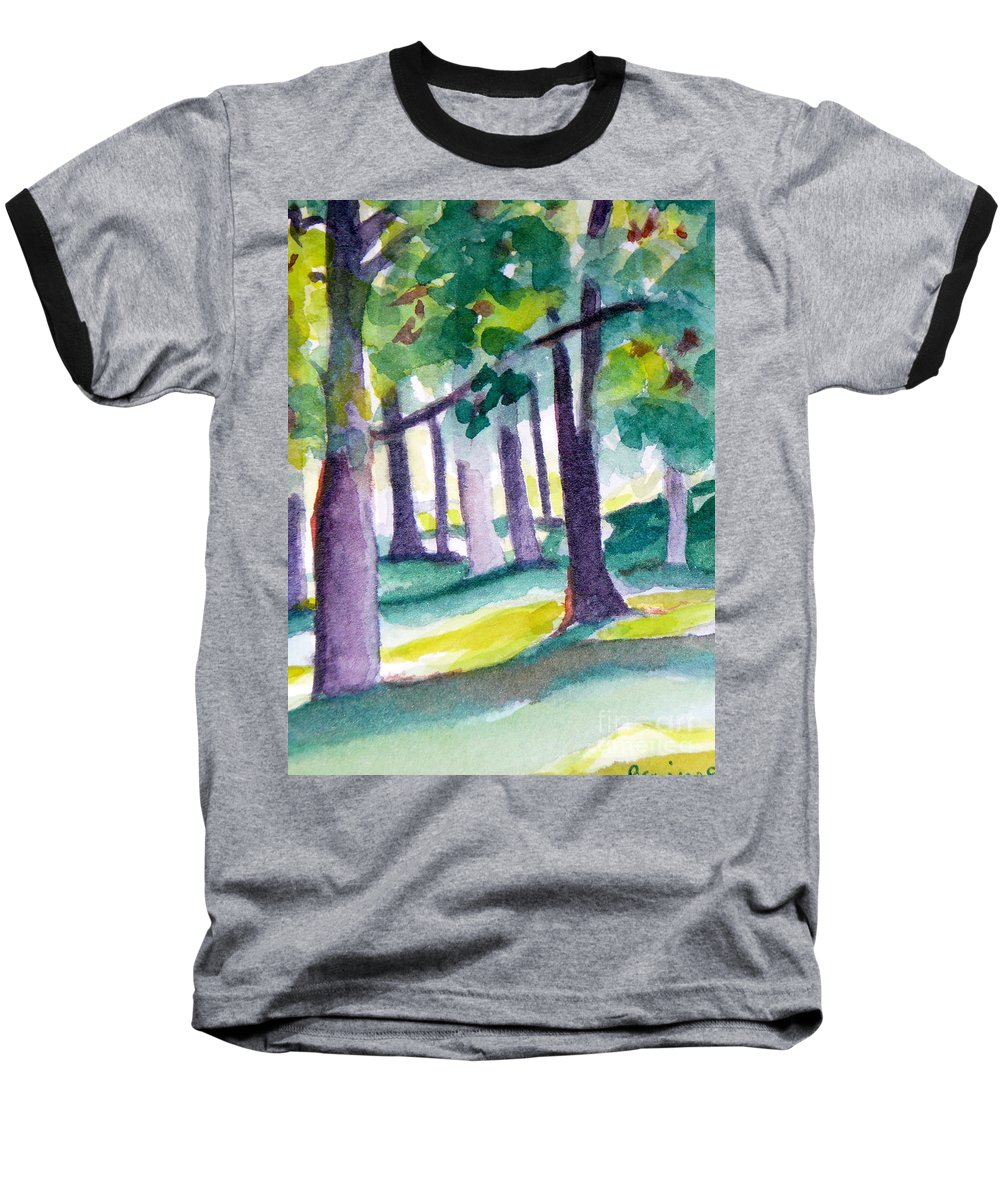 Nature Baseball T-Shirt featuring the painting The Perfect Day by Jan Bennicoff