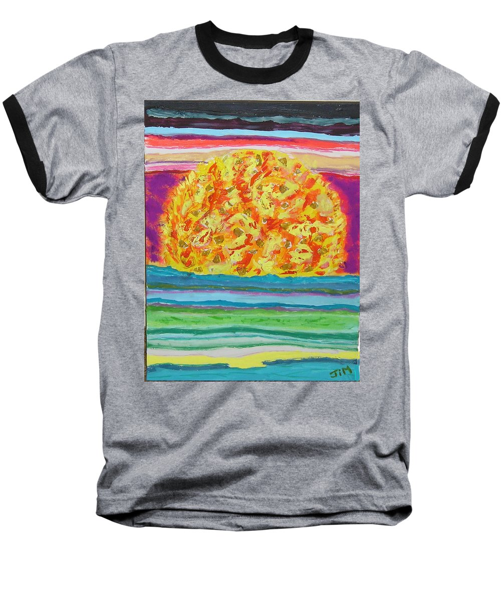 Hot Baseball T-Shirt featuring the painting The Sun Drinks The Ocean And Eats The Sky by James Campbell