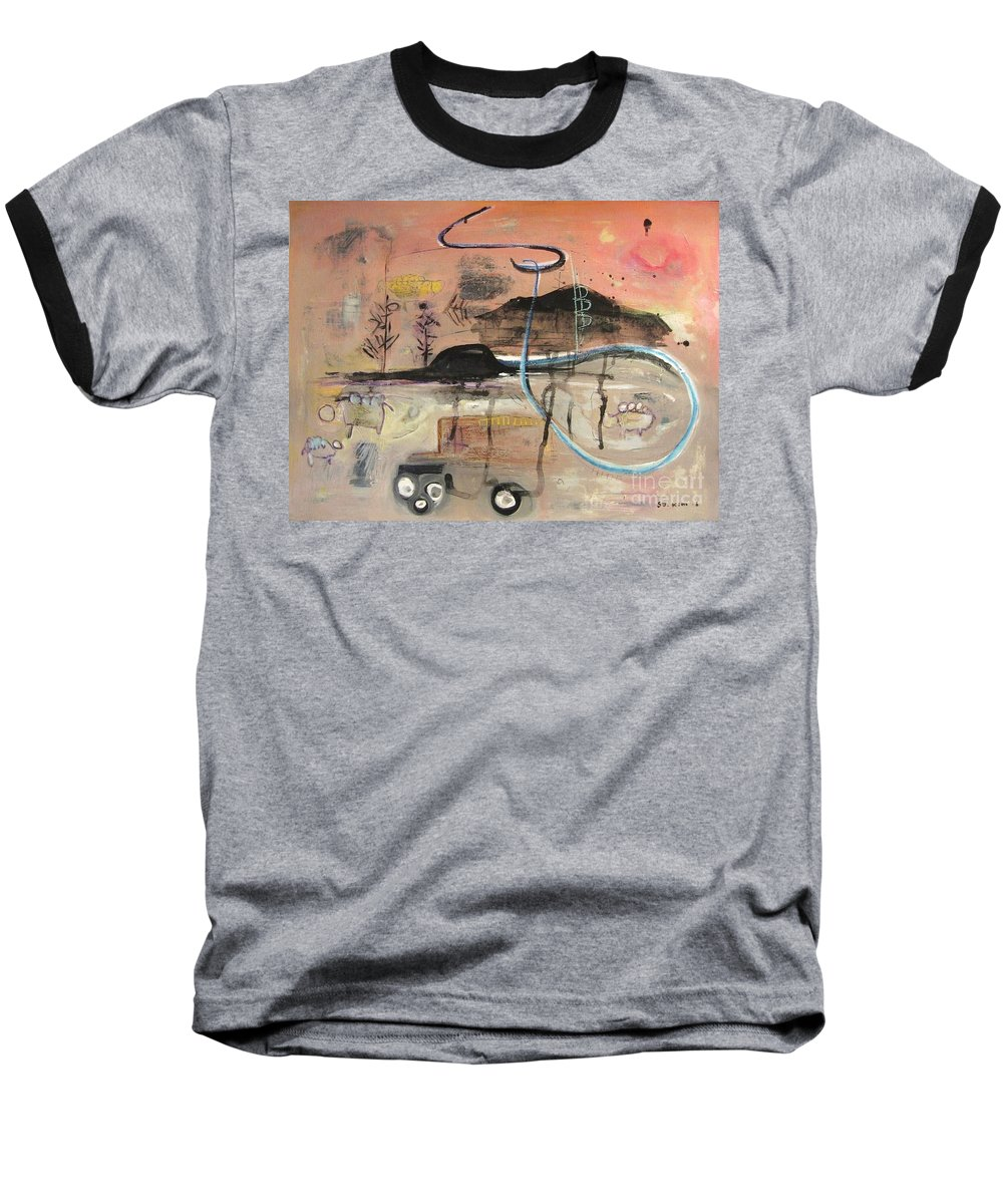 Acrylic Paper Canvas Abstract Contemporary Landscape Dusk Twilight Countryside Baseball T-Shirt featuring the painting The Tempo Of A Day by Seon-Jeong Kim