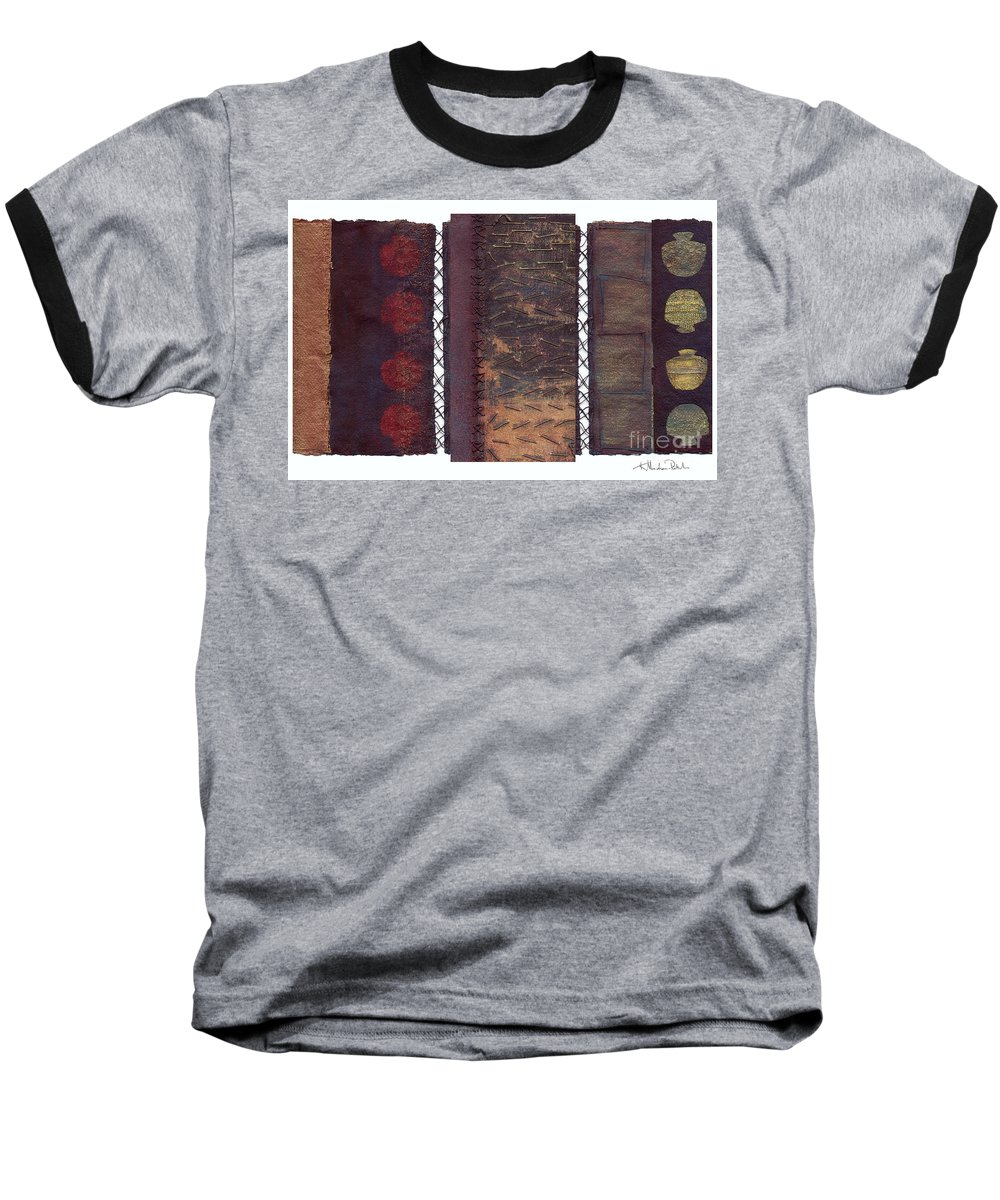 3panel Baseball T-Shirt featuring the painting Three Panel Transitional Page Format by Kerryn Madsen- Pietsch