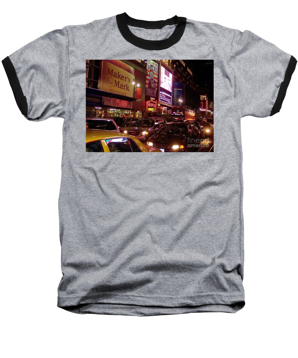 New York Baseball T-Shirt featuring the photograph Times Square Night by Debbi Granruth