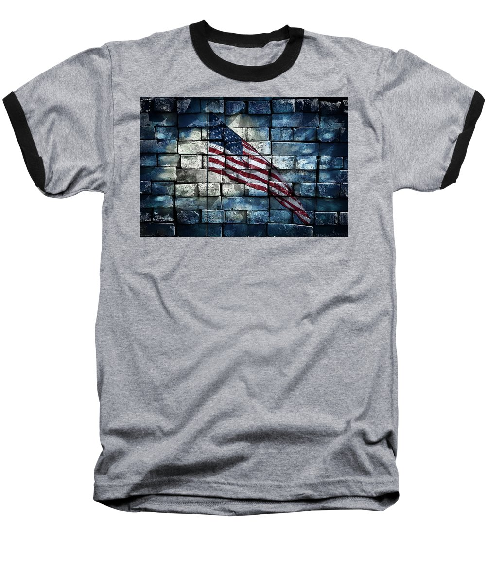 America Baseball T-Shirt featuring the photograph Together We Stand by Aaron Berg