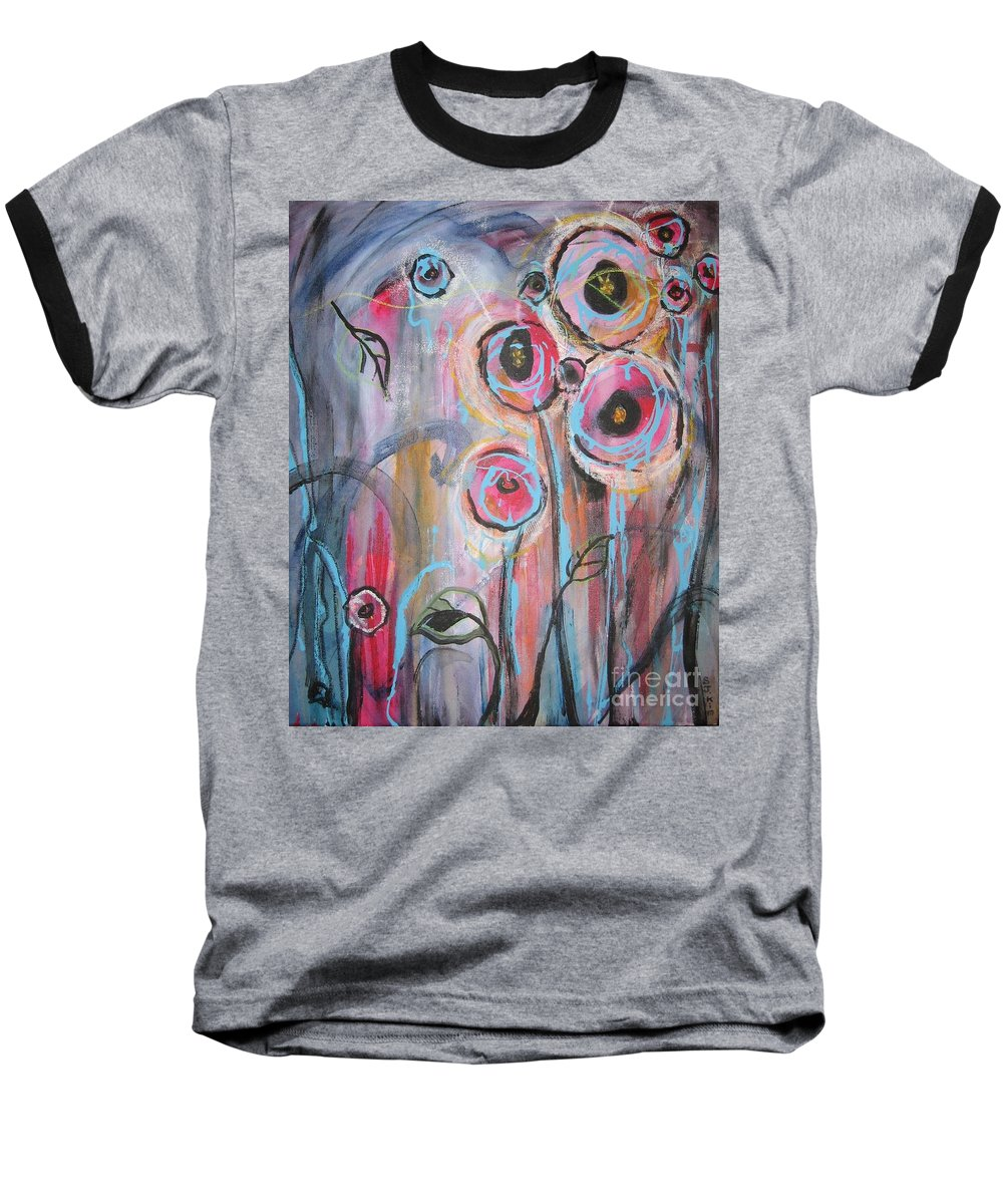Aabstract Paintings Baseball T-Shirt featuring the painting Too Many Temptations by Seon-Jeong Kim
