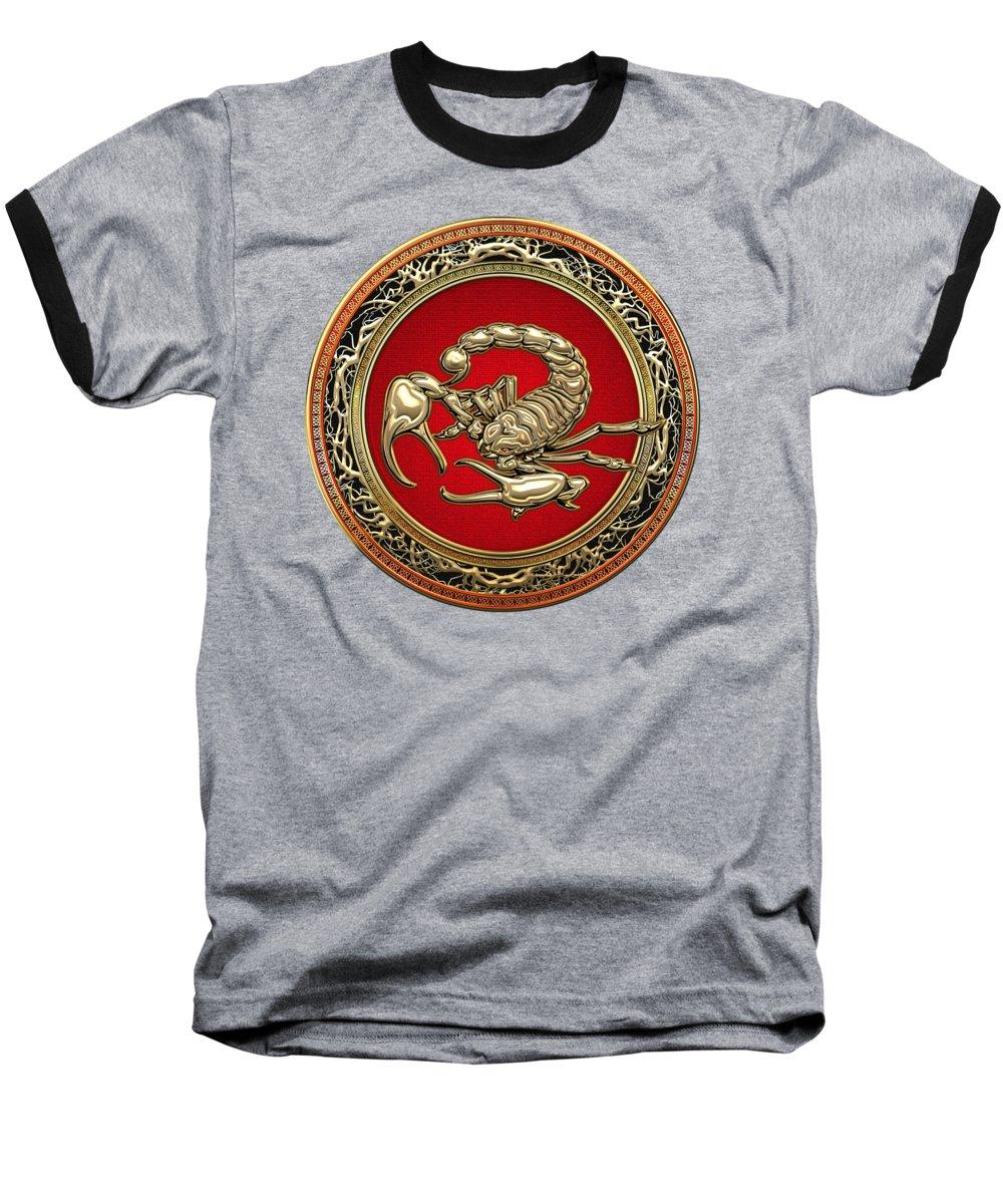 �treasure Trove � By Serge Averbukh Baseball T-Shirt featuring the photograph Treasure Trove - Sacred Golden Scorpion on Black by Serge Averbukh