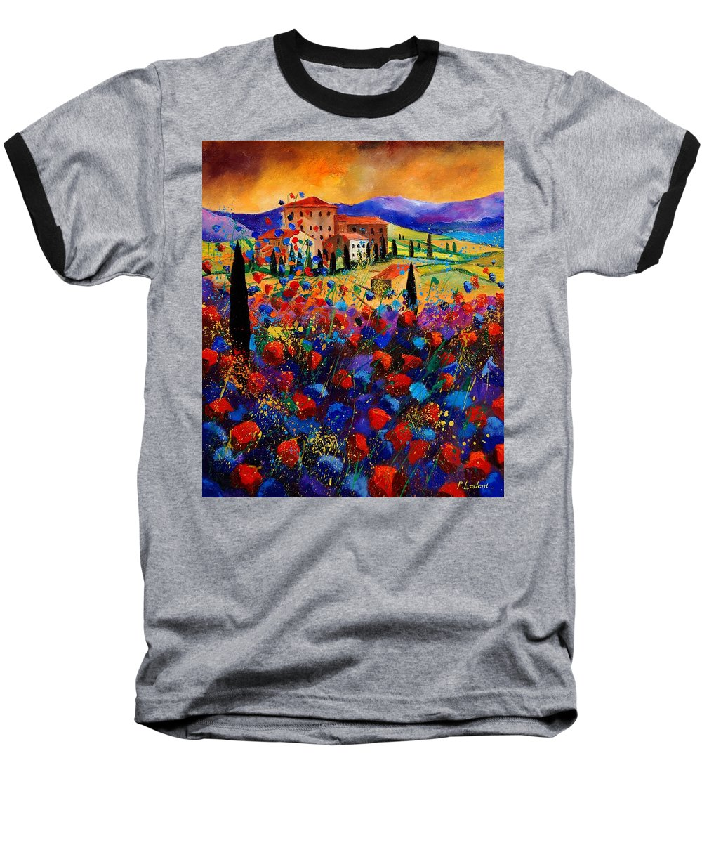Flowers Baseball T-Shirt featuring the painting Tuscany Poppies by Pol Ledent