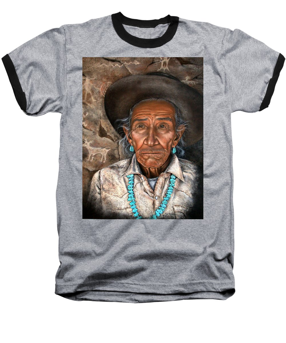 People Baseball T-Shirt featuring the painting Vision Of The Past by Deb Owens-Lowe