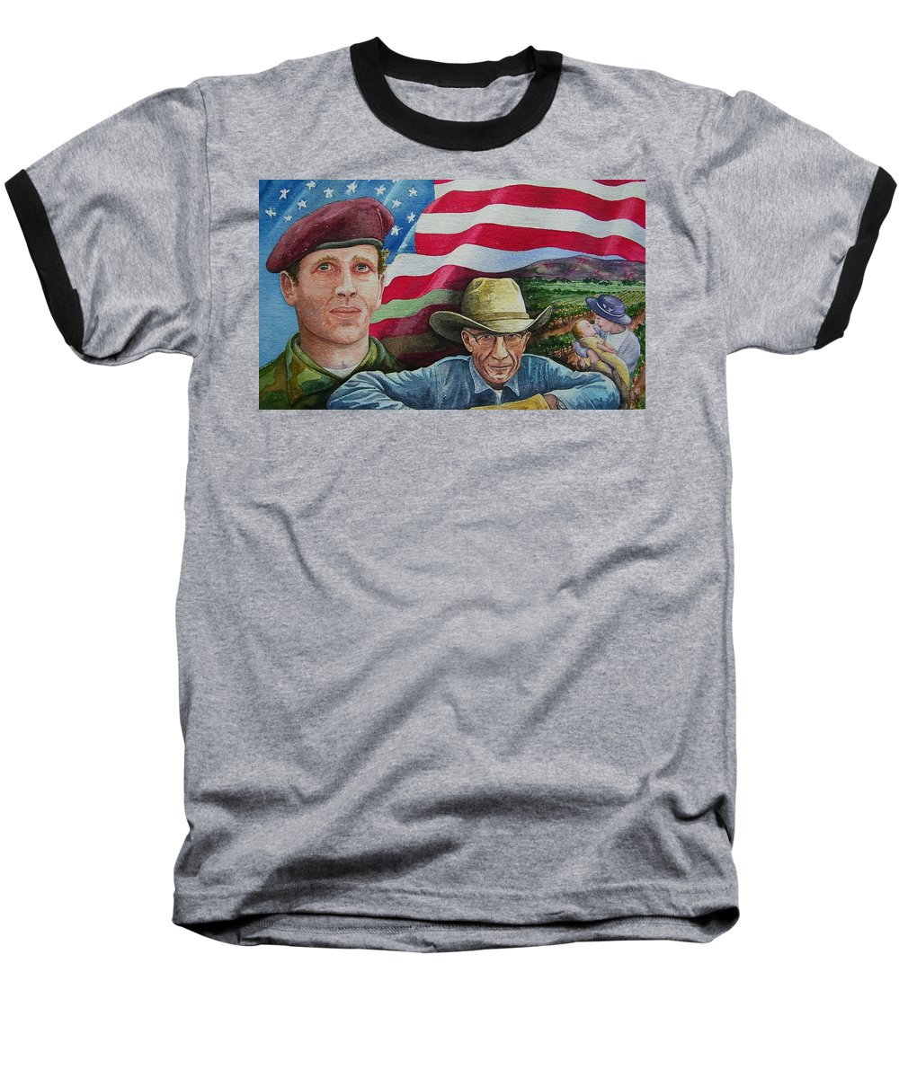 Soldier Baseball T-Shirt featuring the painting We Hold These Truths by Gale Cochran-Smith