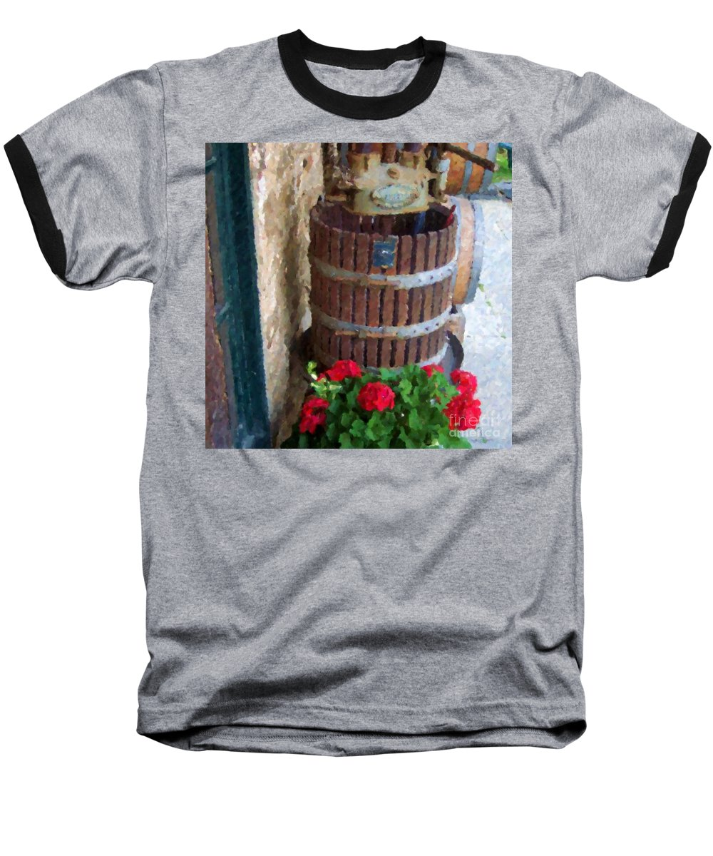 Geraniums Baseball T-Shirt featuring the photograph Wine And Geraniums by Debbi Granruth