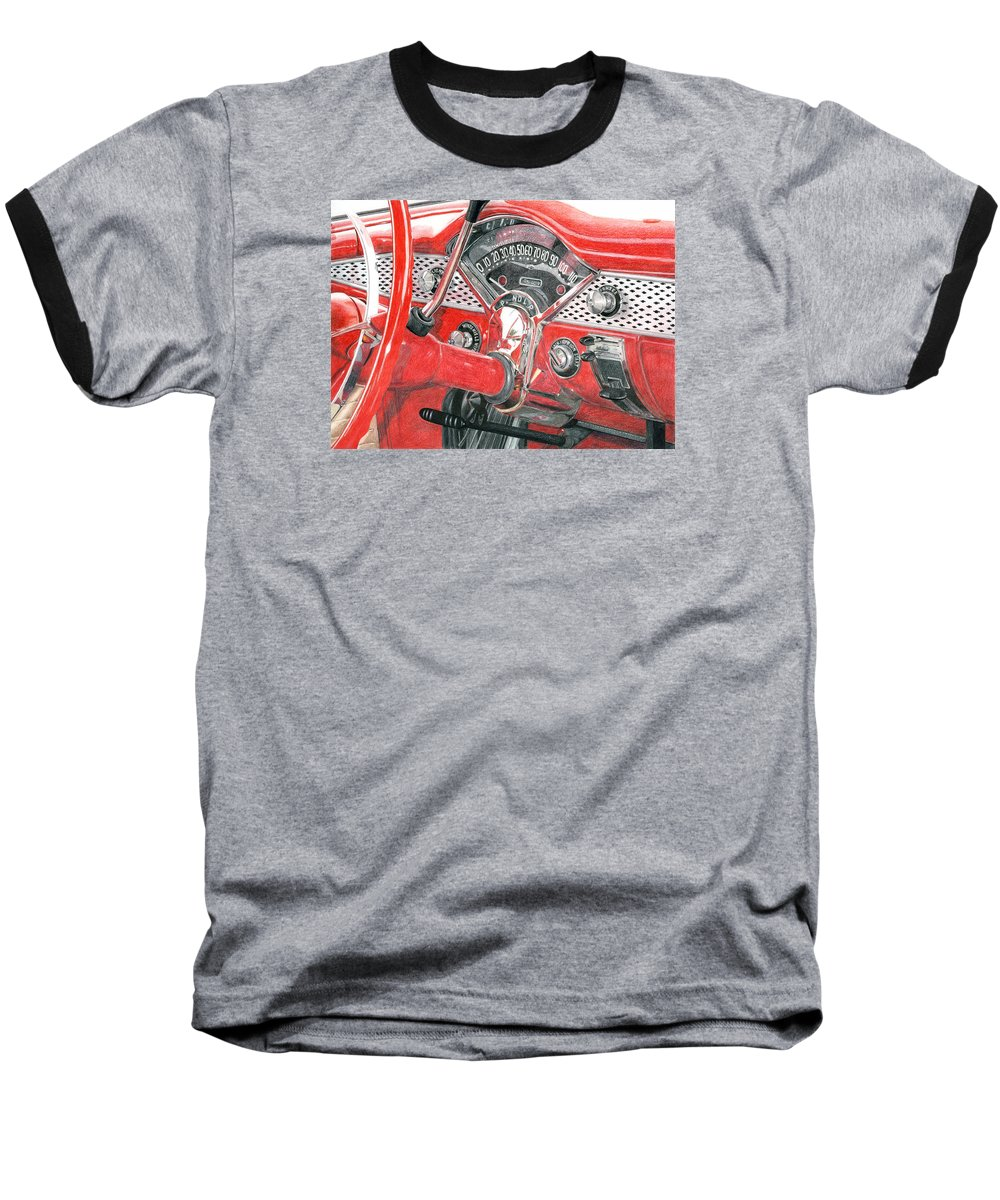 Classic Baseball T-Shirt featuring the drawing 1955 Chevrolet Bel Air by Rob De Vries