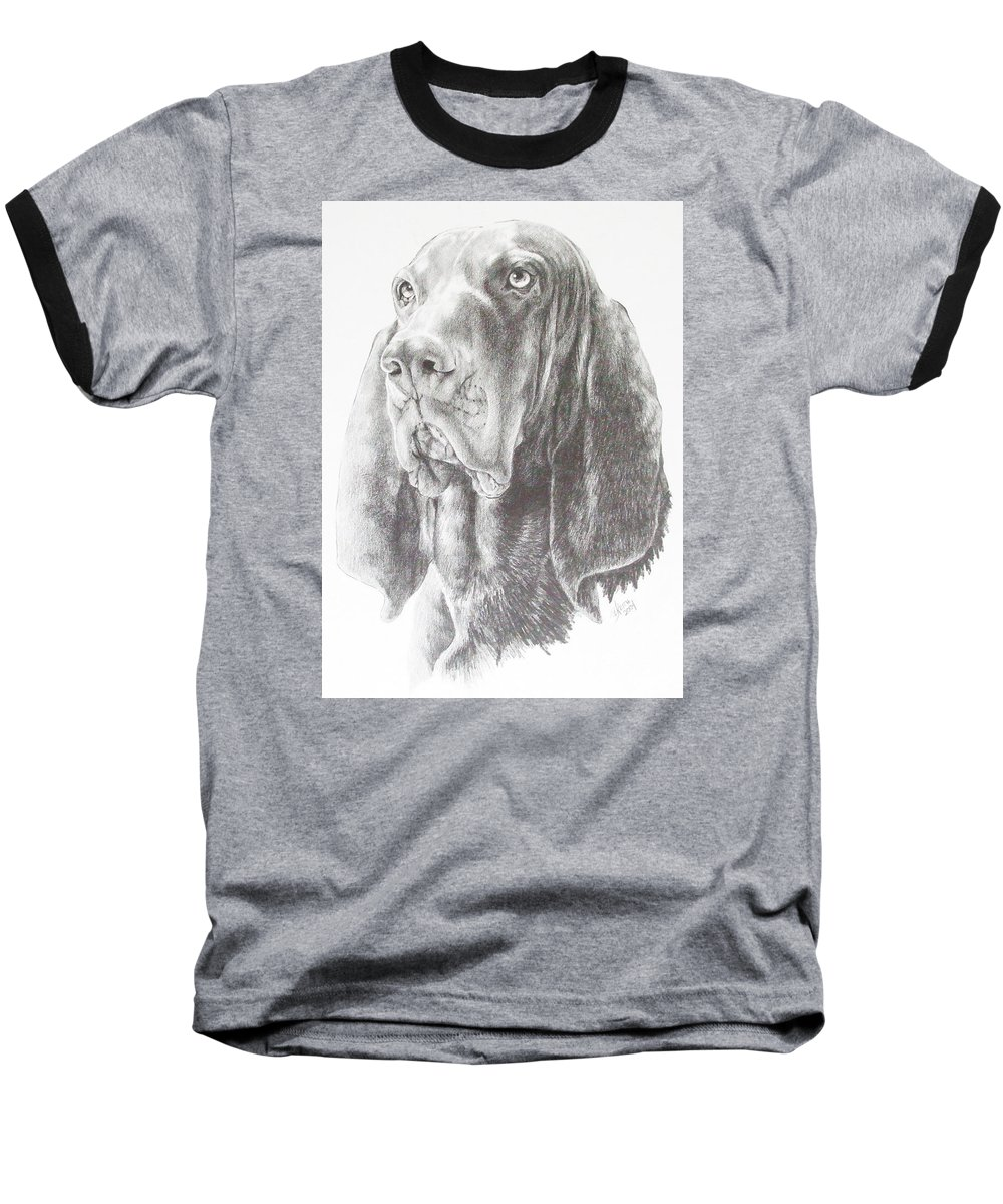Dog Baseball T-Shirt featuring the drawing Black And Tan Coonhound by Barbara Keith