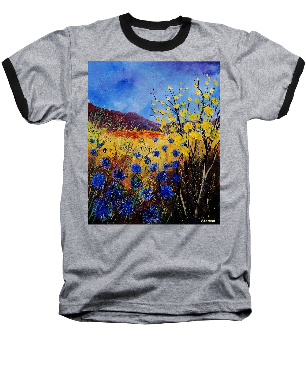 Poppies Flowers Floral Baseball T-Shirt featuring the painting Blue Cornflowers by Pol Ledent