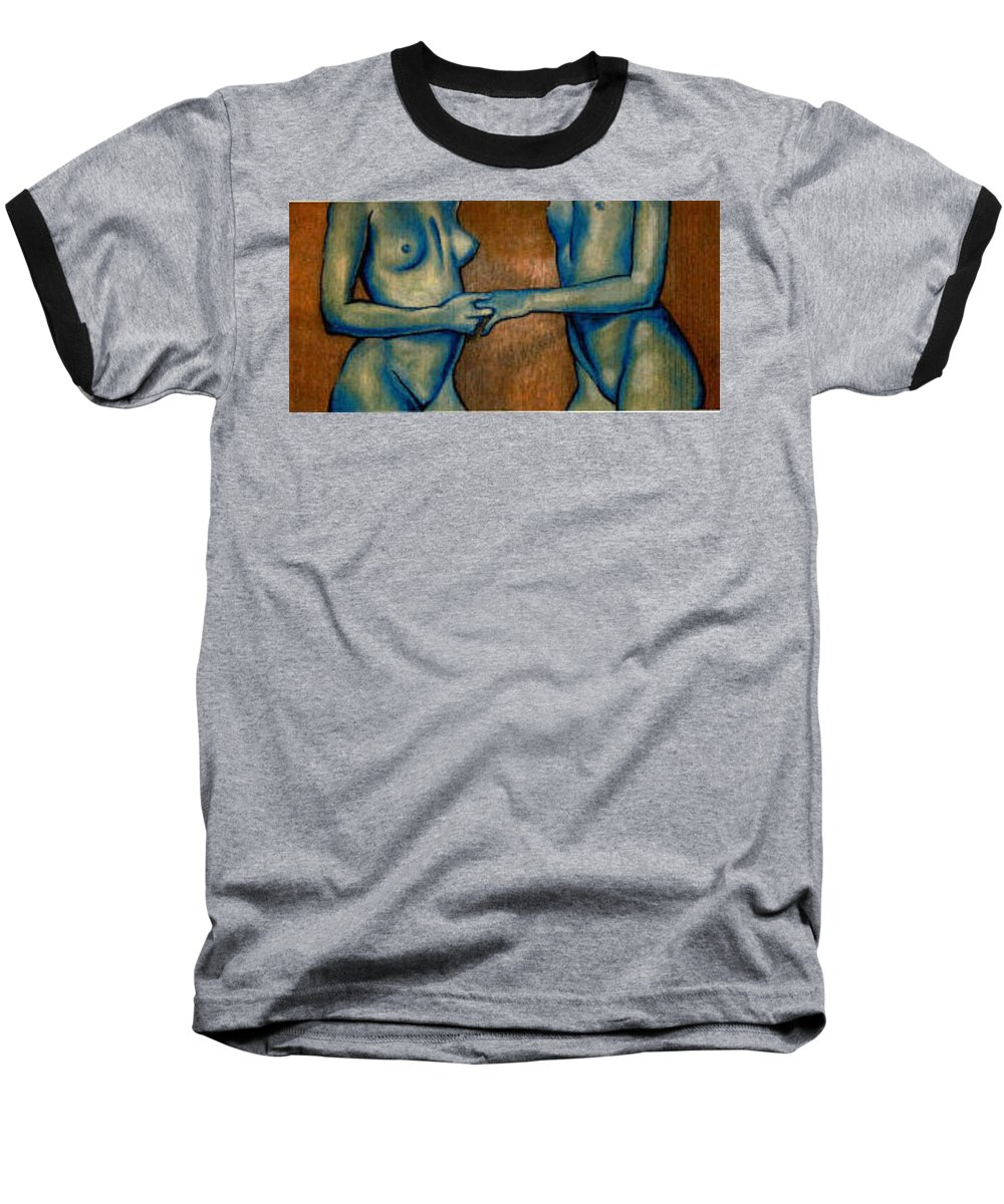 Nudes Baseball T-Shirt featuring the painting Friends by Thomas Valentine