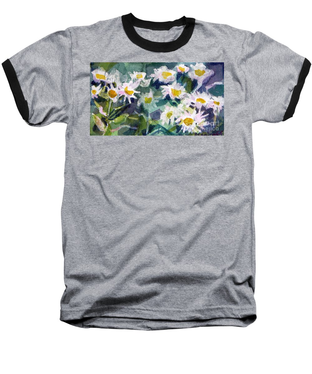 Flowers Baseball T-Shirt featuring the painting Little Asters by Jan Bennicoff