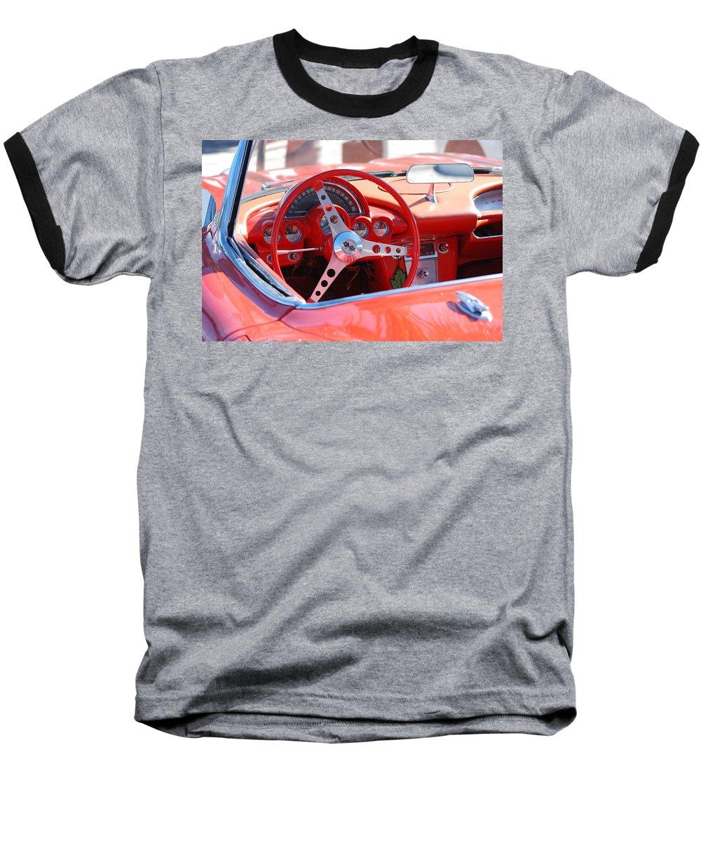 Corvette Baseball T-Shirt featuring the photograph Little Red Corvette by Rob Hans