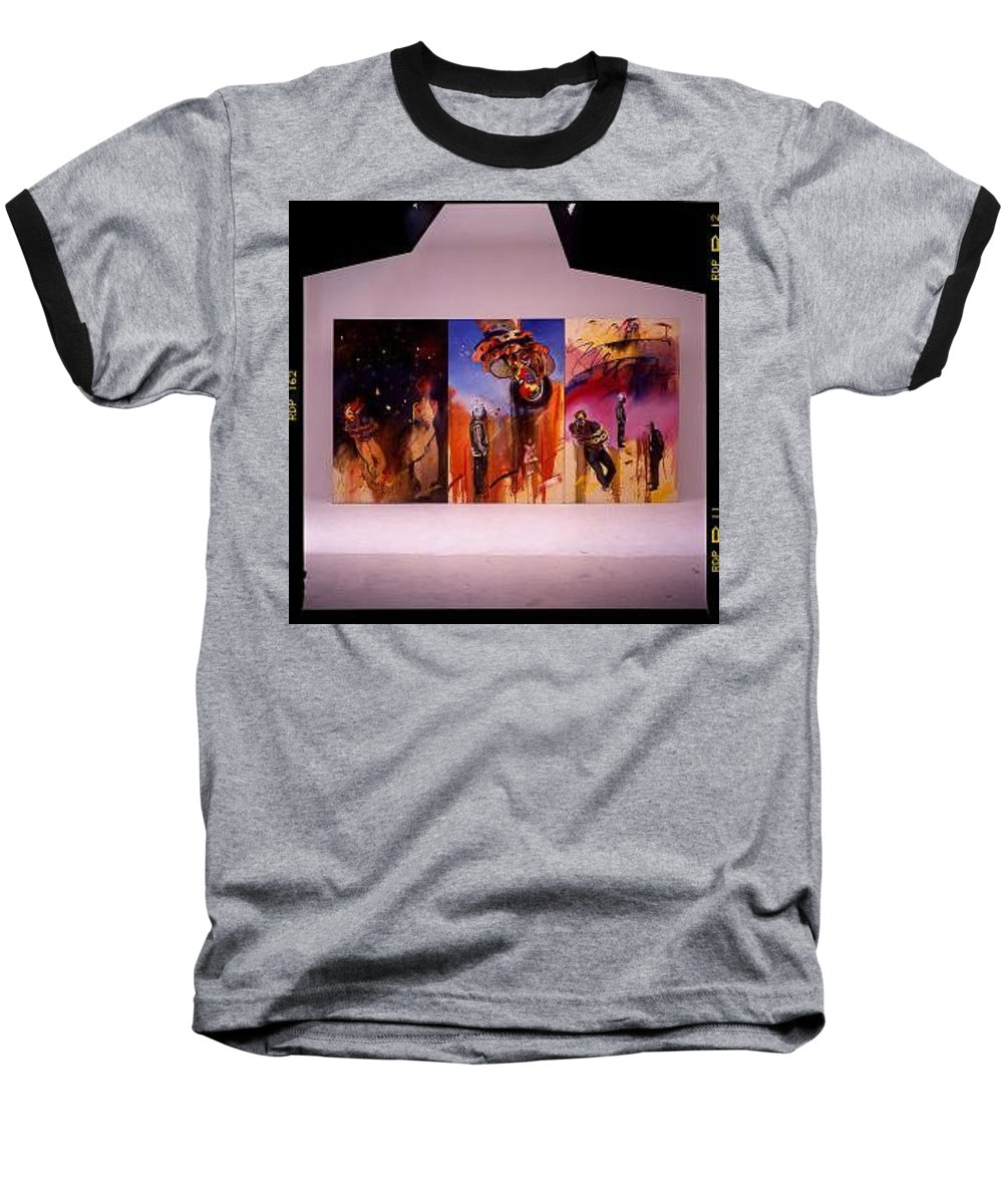 Canvas Baseball T-Shirt featuring the painting Love Hurts by Charles Stuart