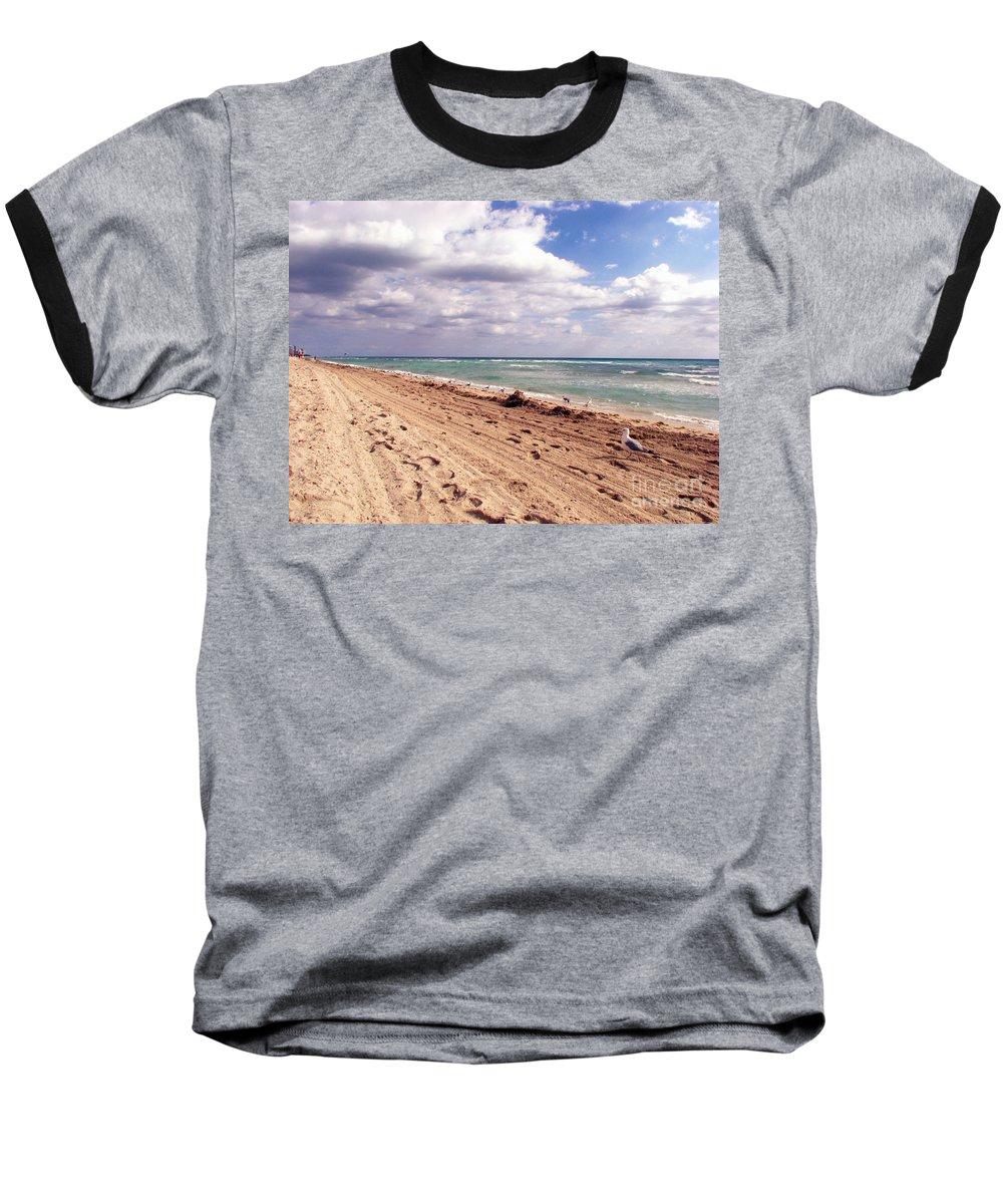 Beaches Baseball T-Shirt featuring the photograph Miami Beach by Amanda Barcon
