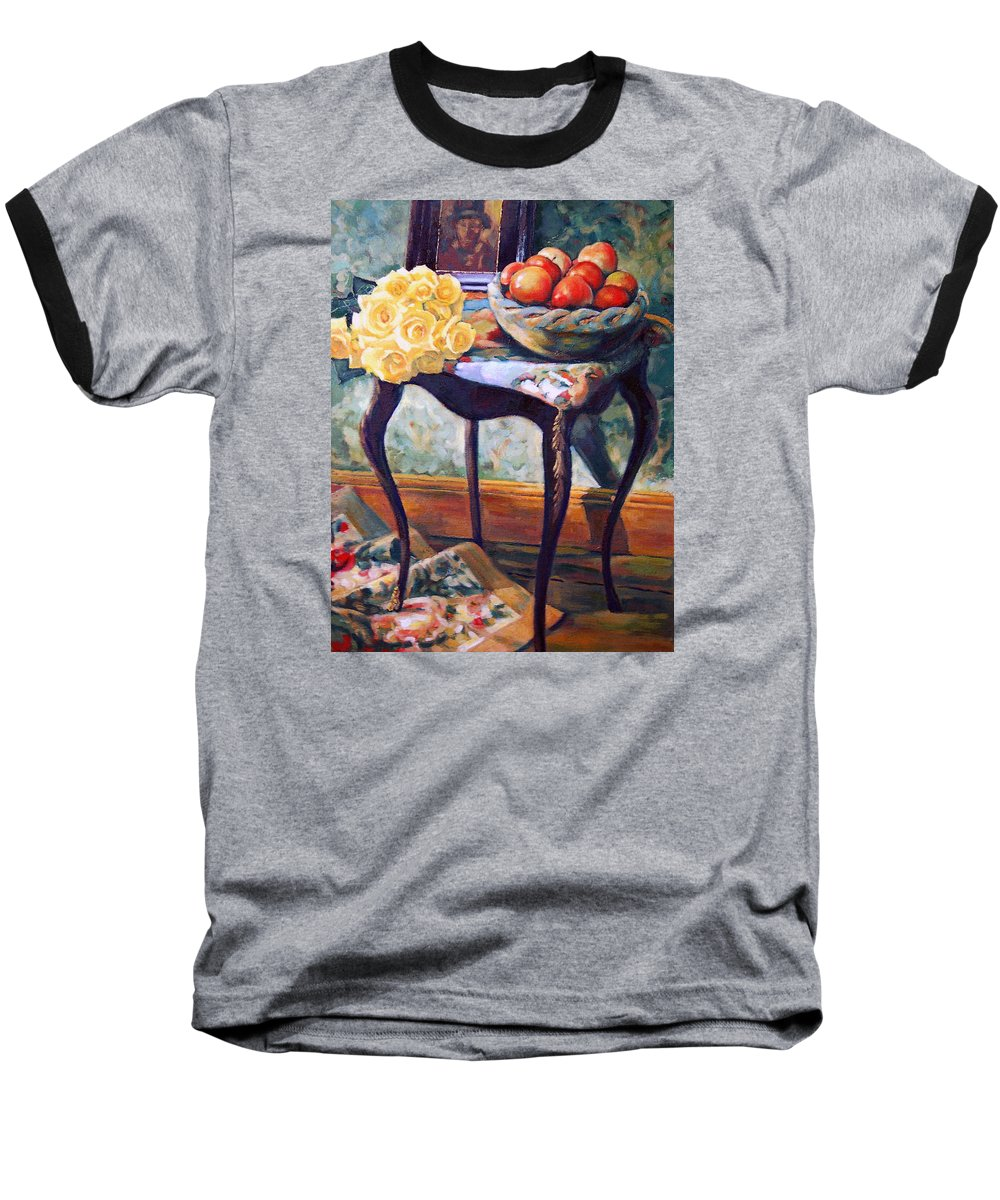 Still Life Baseball T-Shirt featuring the painting Still Life With Roses by Iliyan Bozhanov