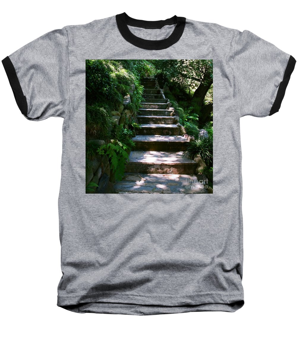 Nature Baseball T-Shirt featuring the photograph Stone Steps by Dean Triolo