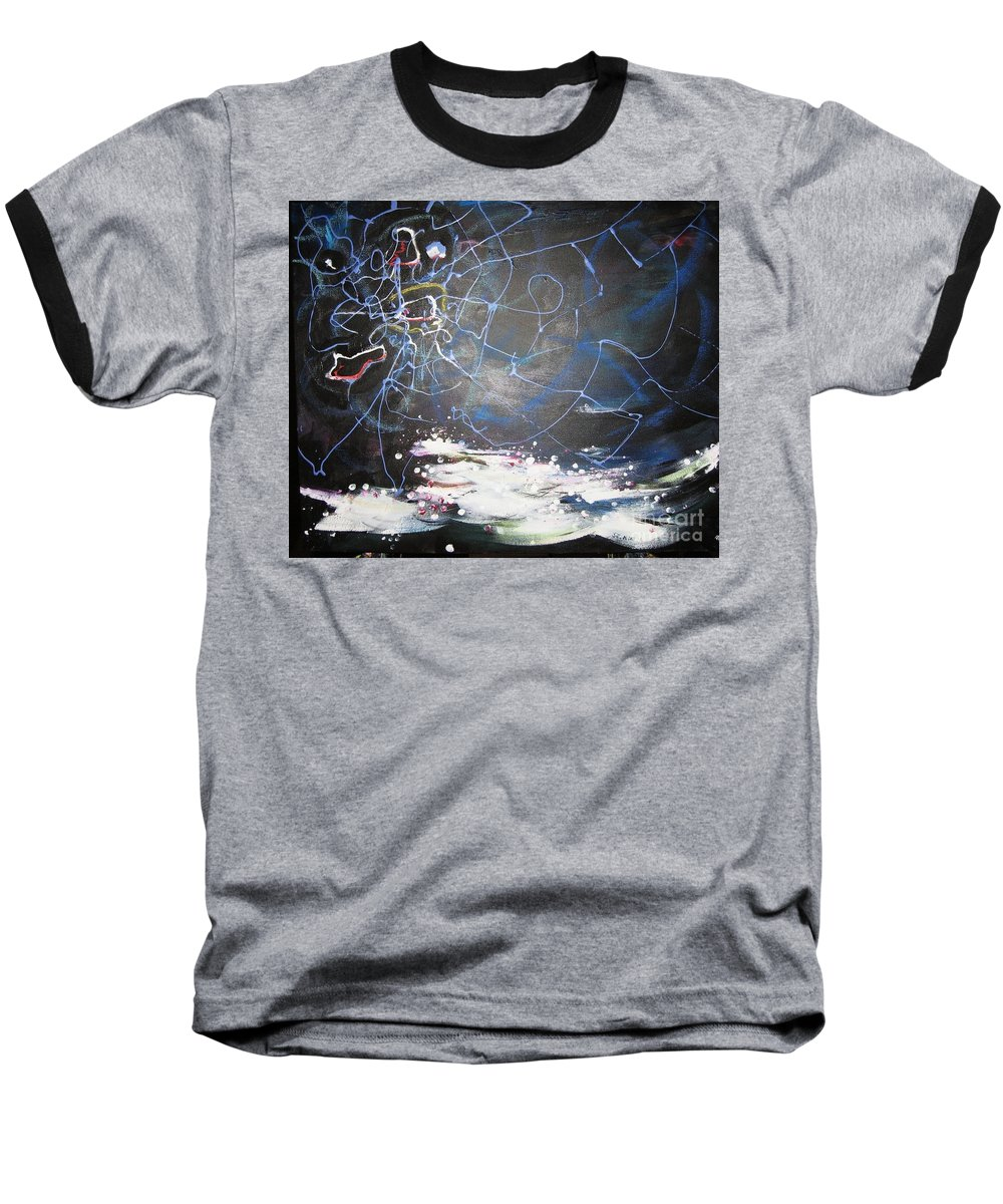 Abstract Paintings Baseball T-Shirt featuring the painting Buckwheat Field by Seon-Jeong Kim