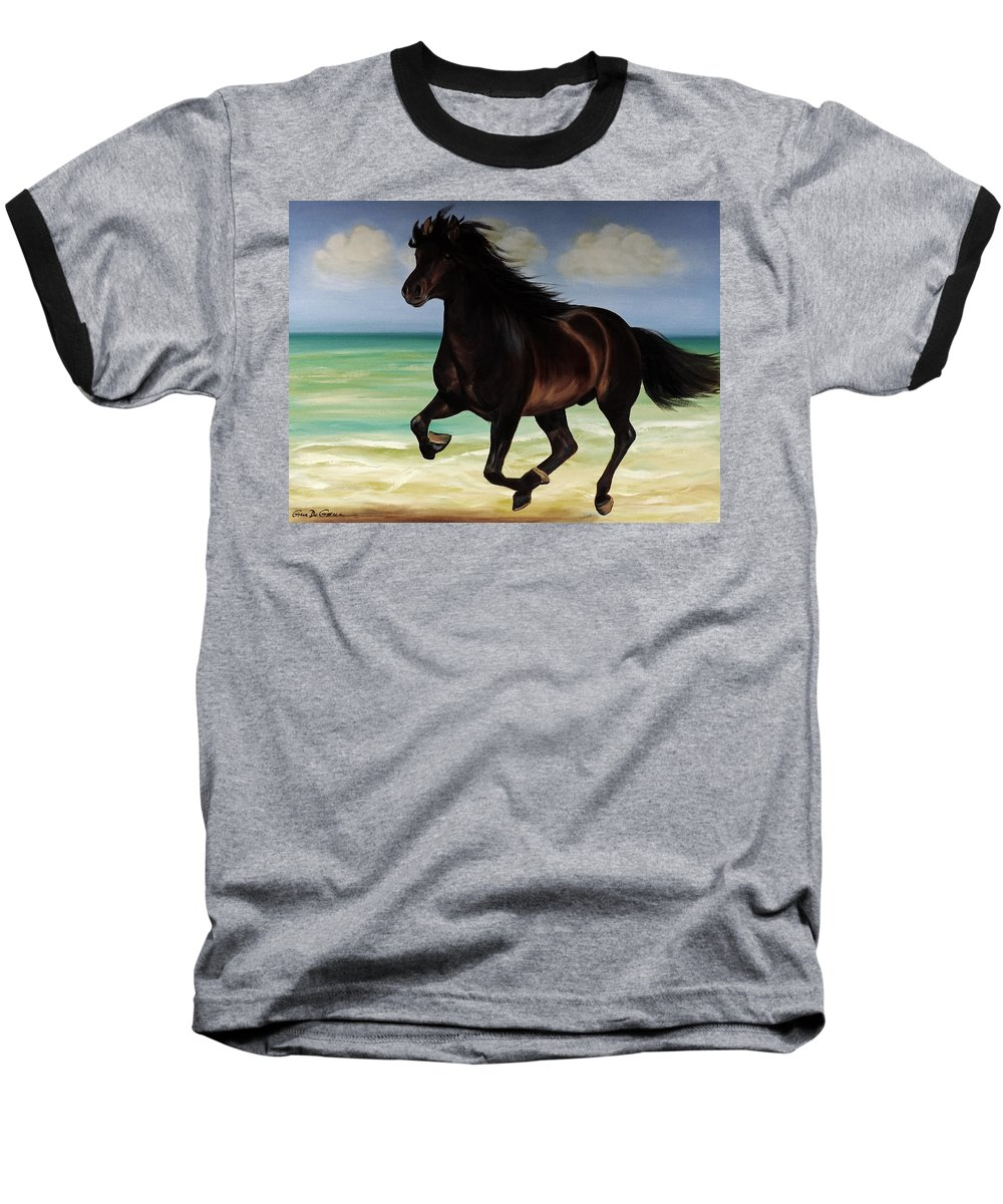 Horse Baseball T-Shirt featuring the painting Horses In Paradise Run by Gina De Gorna