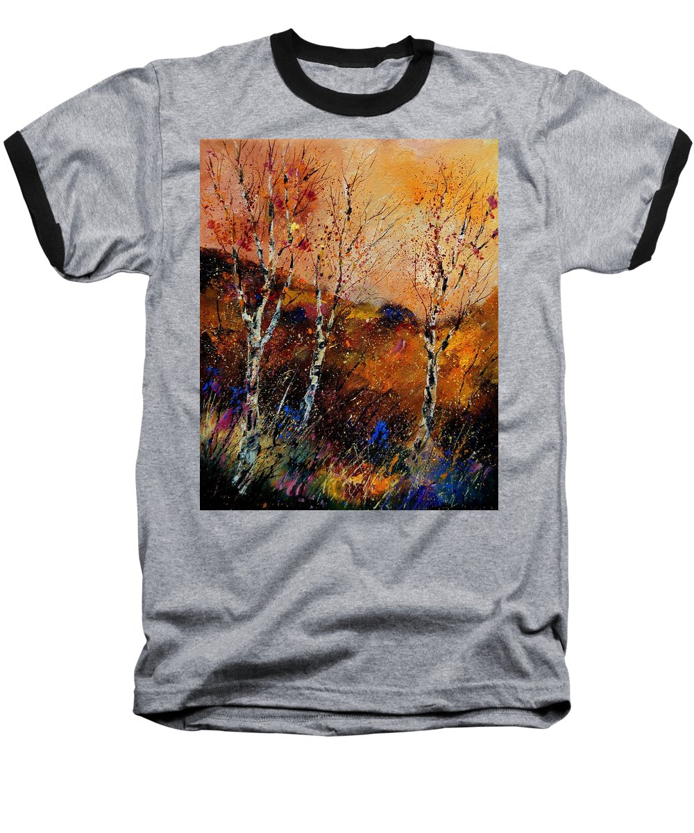 River Baseball T-Shirt featuring the painting 3 Poplars by Pol Ledent