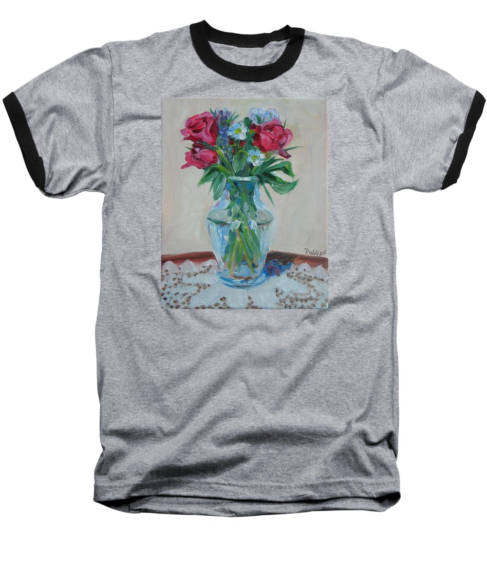 Roses Baseball T-Shirt featuring the painting 3 Roses by Paul Walsh