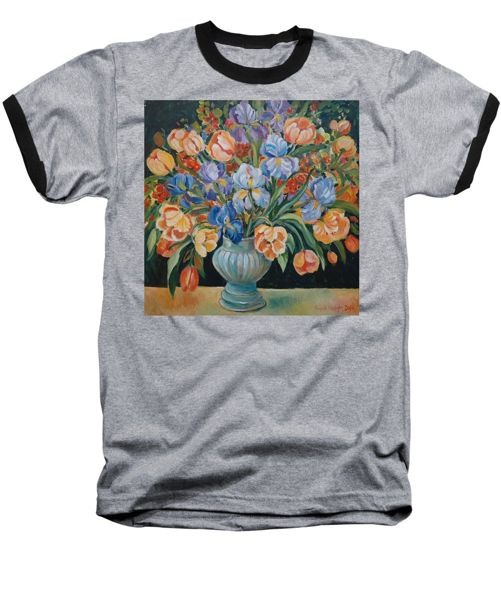Still Life Baseball T-Shirt featuring the painting Tulips by Alexandra Maria Ethlyn Cheshire