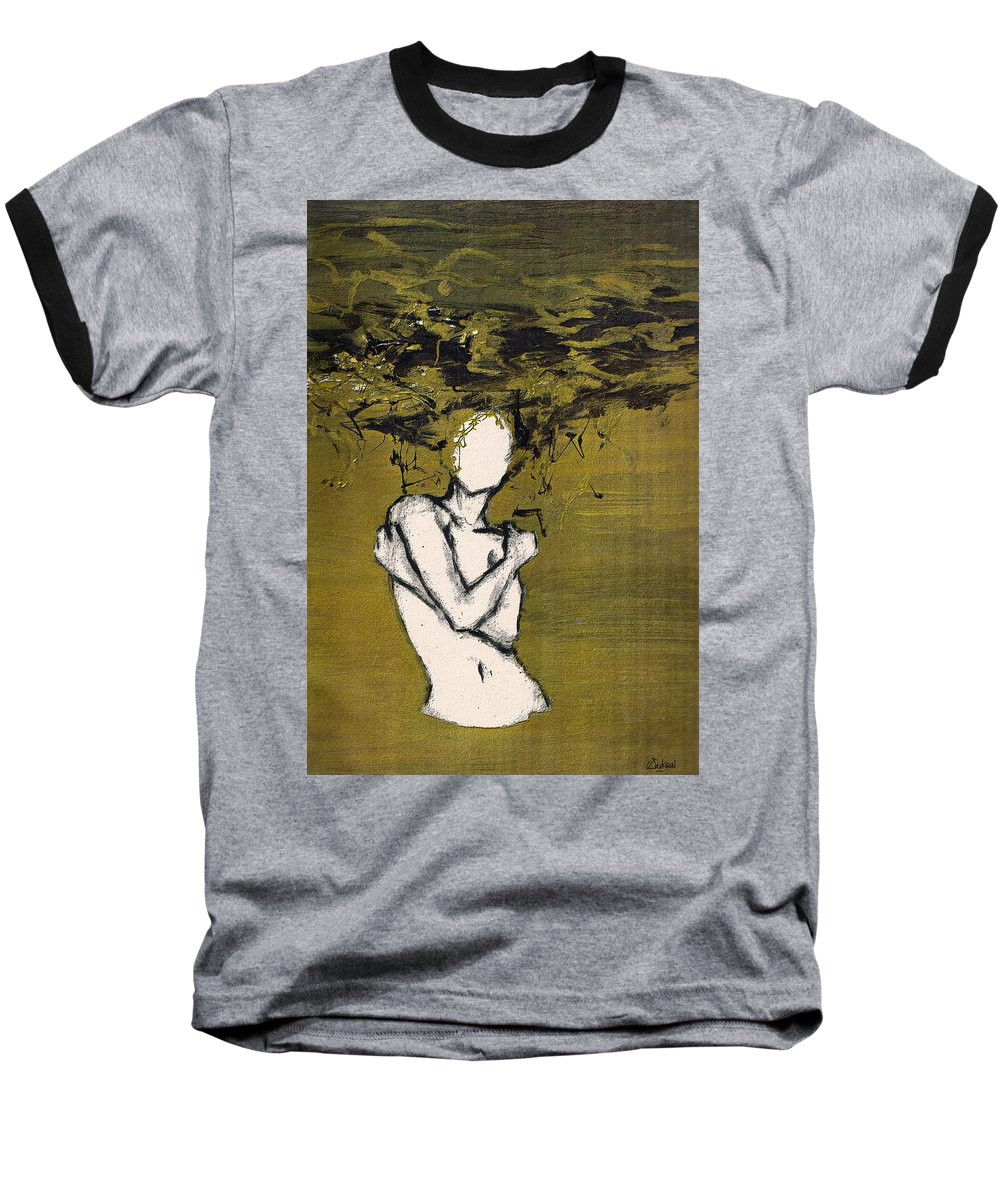 Gold Woman Hair Bath Nude Baseball T-Shirt featuring the mixed media Untitled by Veronica Jackson