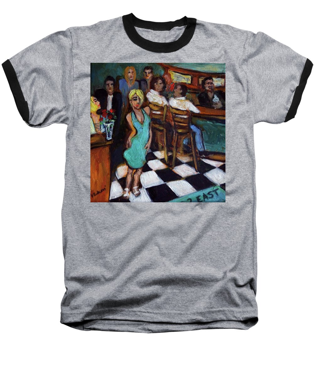Restaurant Baseball T-Shirt featuring the painting 32 East by Valerie Vescovi