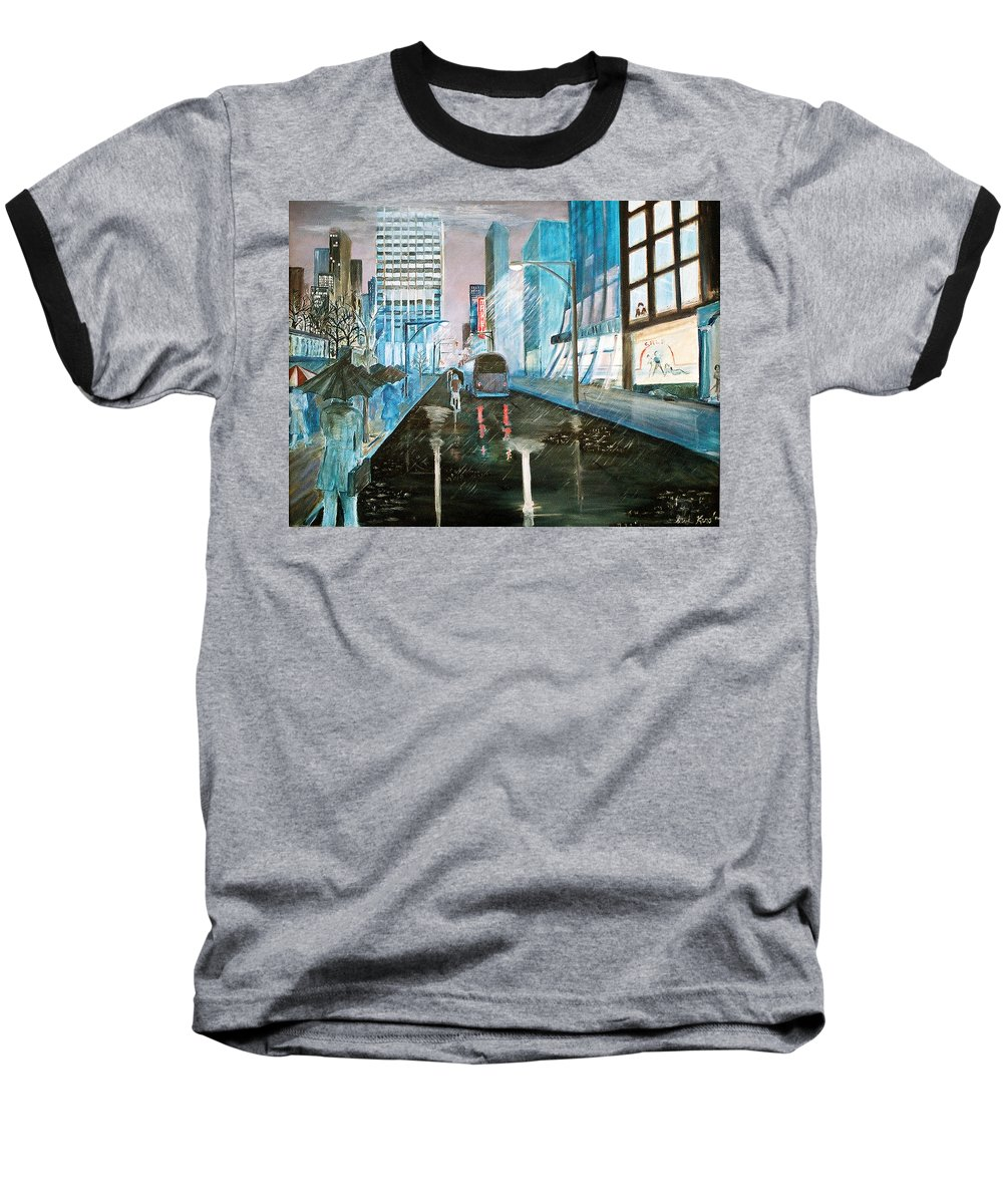 Street Scape Baseball T-Shirt featuring the painting 42nd Street Blue by Steve Karol