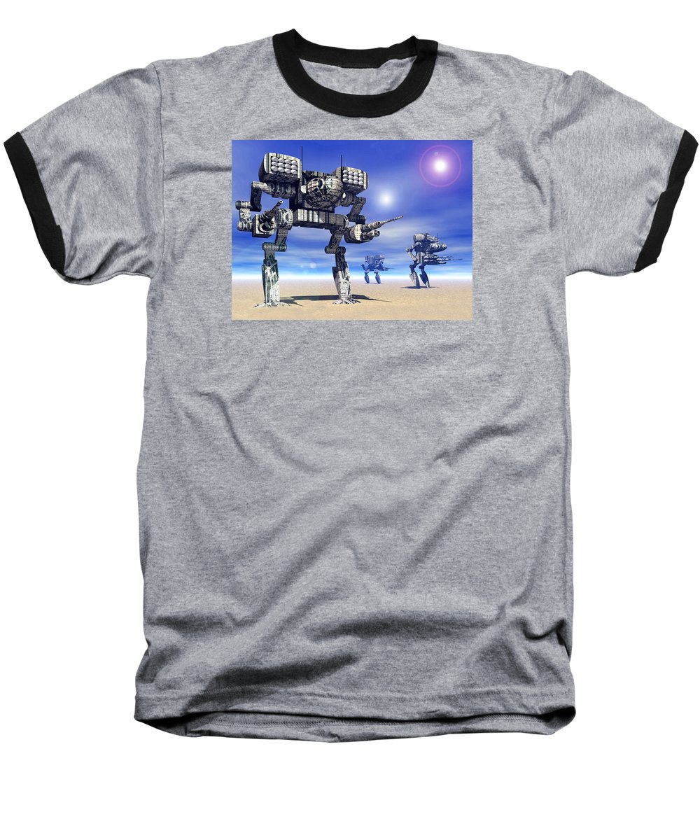 Science Fiction Baseball T-Shirt featuring the digital art 501st Mech Trinary by Curtiss Shaffer