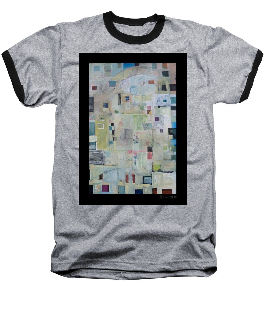 Abstract Baseball T-Shirt featuring the painting 7am In The City That Doesn by Tim Nyberg
