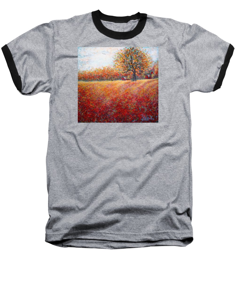 Autumn Landscape Baseball T-Shirt featuring the painting A Beautiful Autumn Day by Natalie Holland