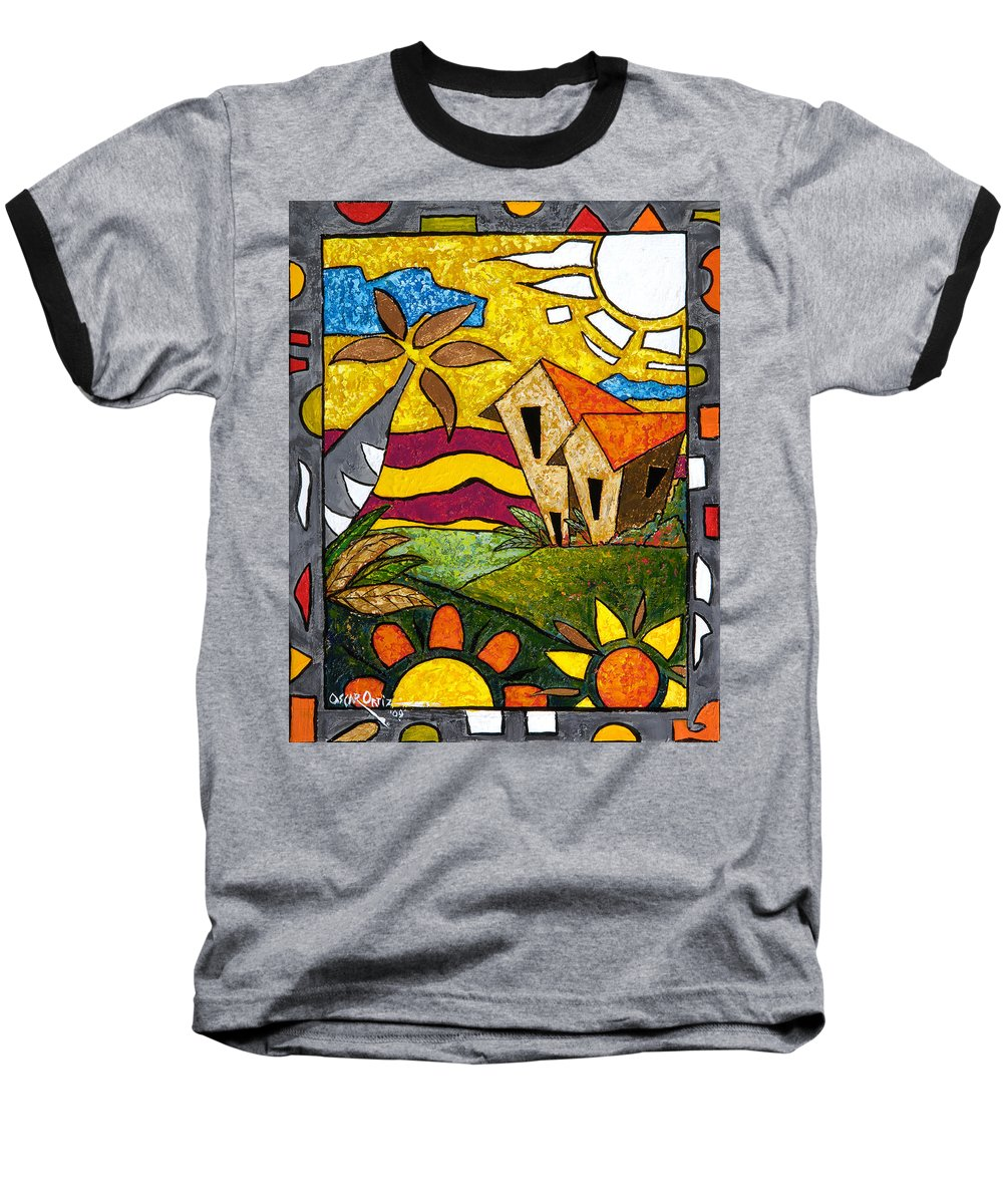 Puerto Rico Baseball T-Shirt featuring the painting A Beautiful Day by Oscar Ortiz