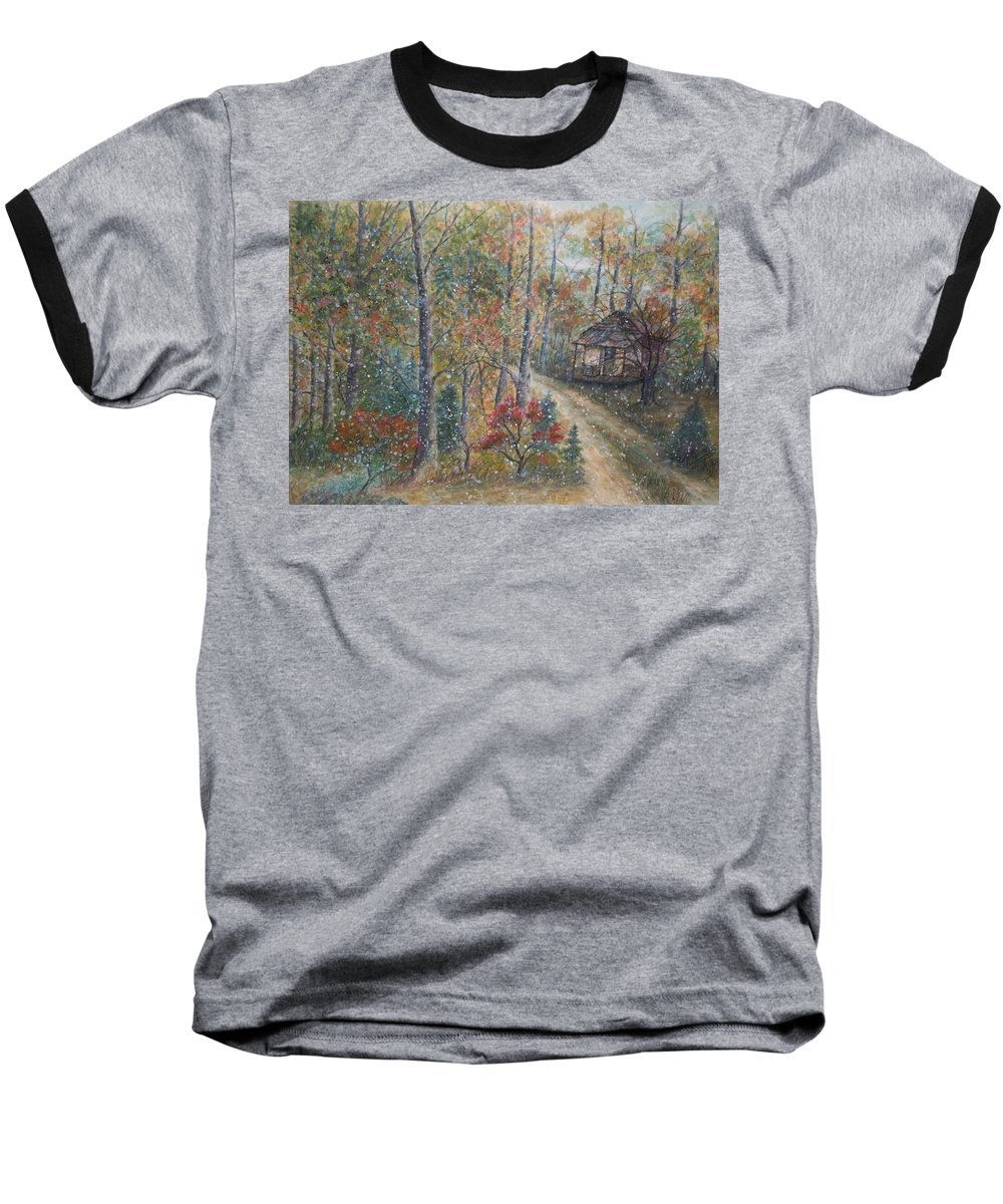 Country Road; Old House; Trees Baseball T-Shirt featuring the painting A Bend In The Road by Ben Kiger
