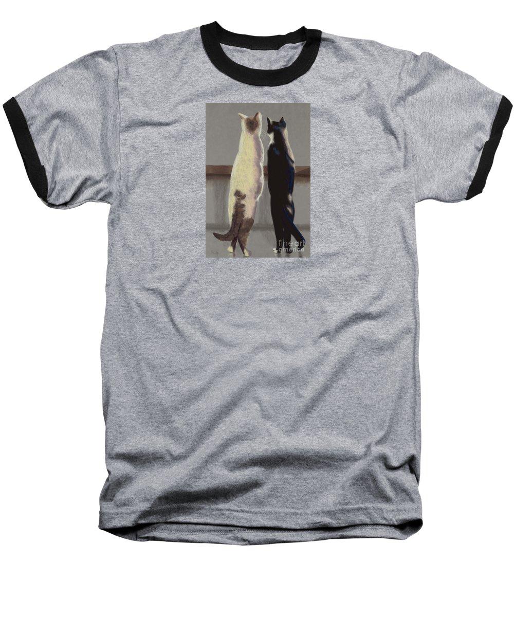 Cat Baseball T-Shirt featuring the painting A Bird by Linda Hiller
