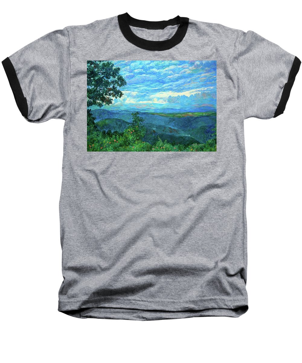 Mountains Baseball T-Shirt featuring the painting A Break In The Clouds by Kendall Kessler