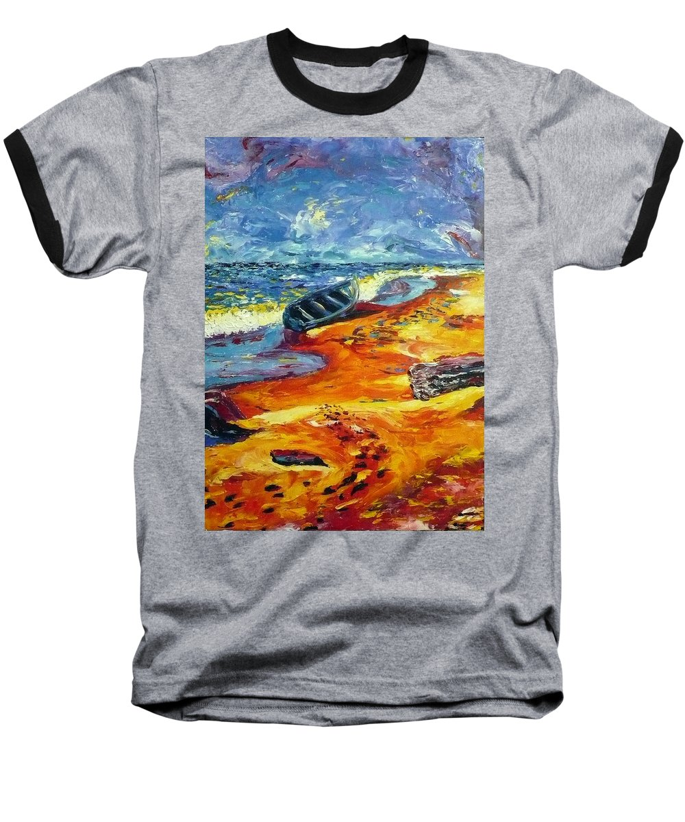 Landscape Baseball T-Shirt featuring the painting A Canoe At The Beach by Ericka Herazo