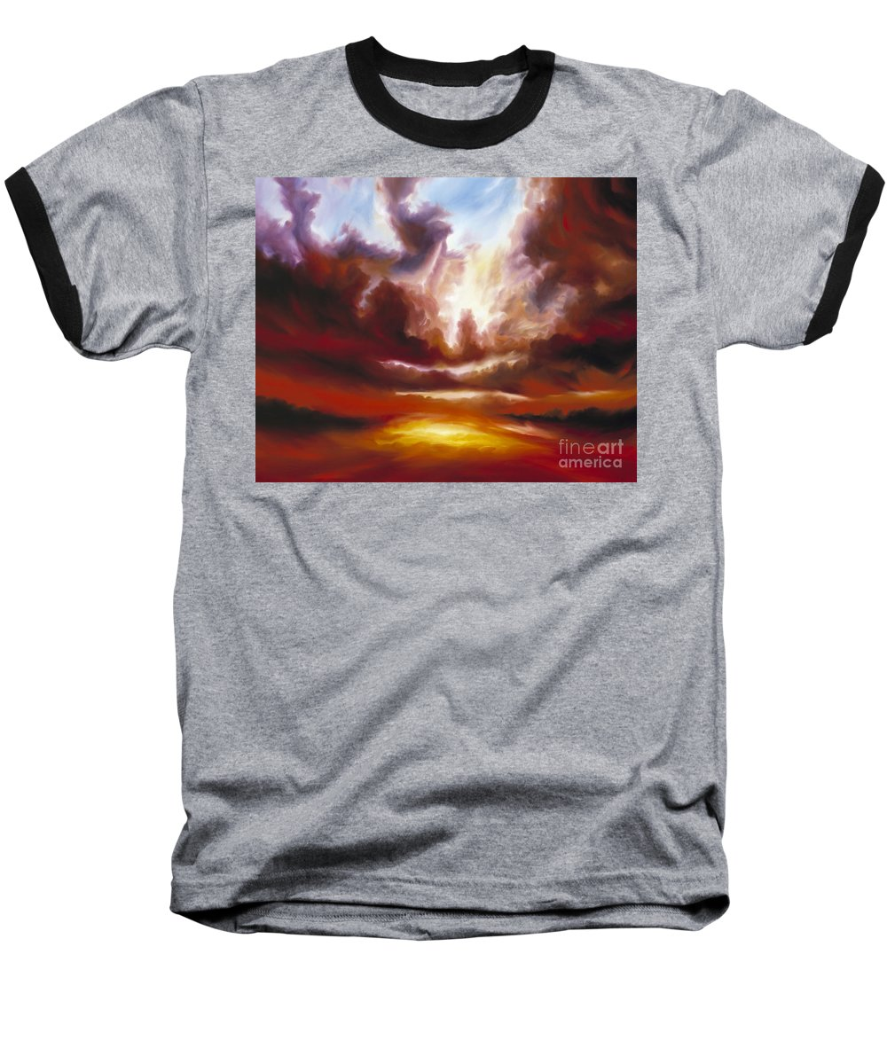 Tempest Baseball T-Shirt featuring the painting A Cosmic Storm - Genesis V by James Christopher Hill