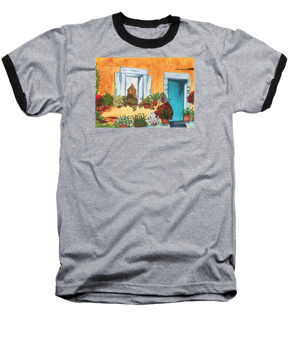 Watercolor Painting Baseball T-Shirt featuring the painting A Cottage In The Village by Patricia Griffin Brett