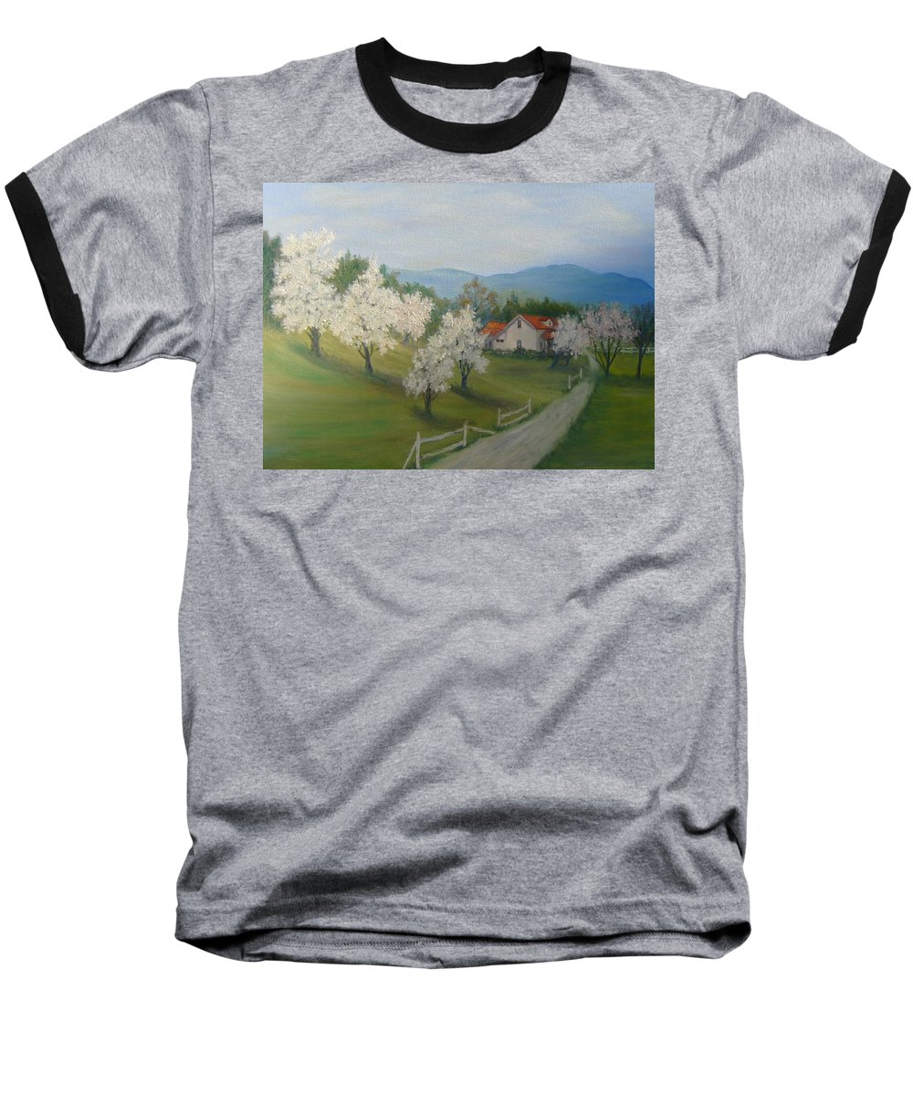 Landscape; Spring; Mountains; Country Road; House Baseball T-Shirt featuring the painting A Day In The Country by Ben Kiger