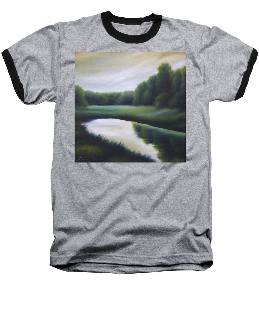 Nature; Lake; Sunset; Sunrise; Serene; Forest; Trees; Water; Ripples; Clearing; Lagoon; James Christopher Hill; Jameshillgallery.com; Foliage; Sky; Realism; Oils; Green; Tree Baseball T-Shirt featuring the painting A Day In The Life 3 by James Christopher Hill