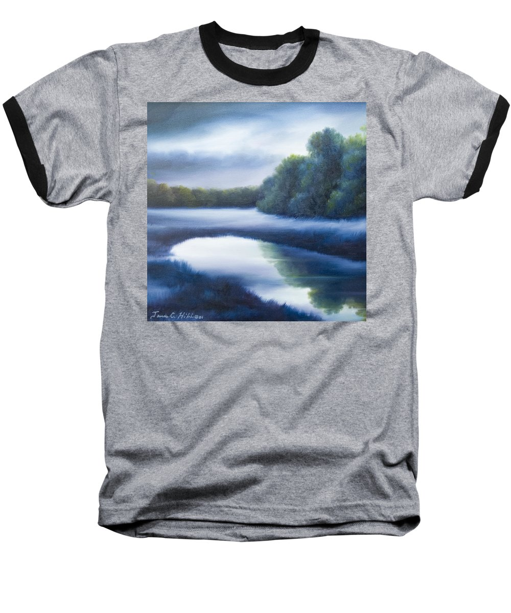Nature; Lake; Sunset; Sunrise; Serene; Forest; Trees; Water; Ripples; Clearing; Lagoon; James Christopher Hill; Jameshillgallery.com; Foliage; Sky; Realism; Oils; Green; Tree; Blue; Pink; Pond; Lake Baseball T-Shirt featuring the painting A Day In The Life 4 by James Christopher Hill