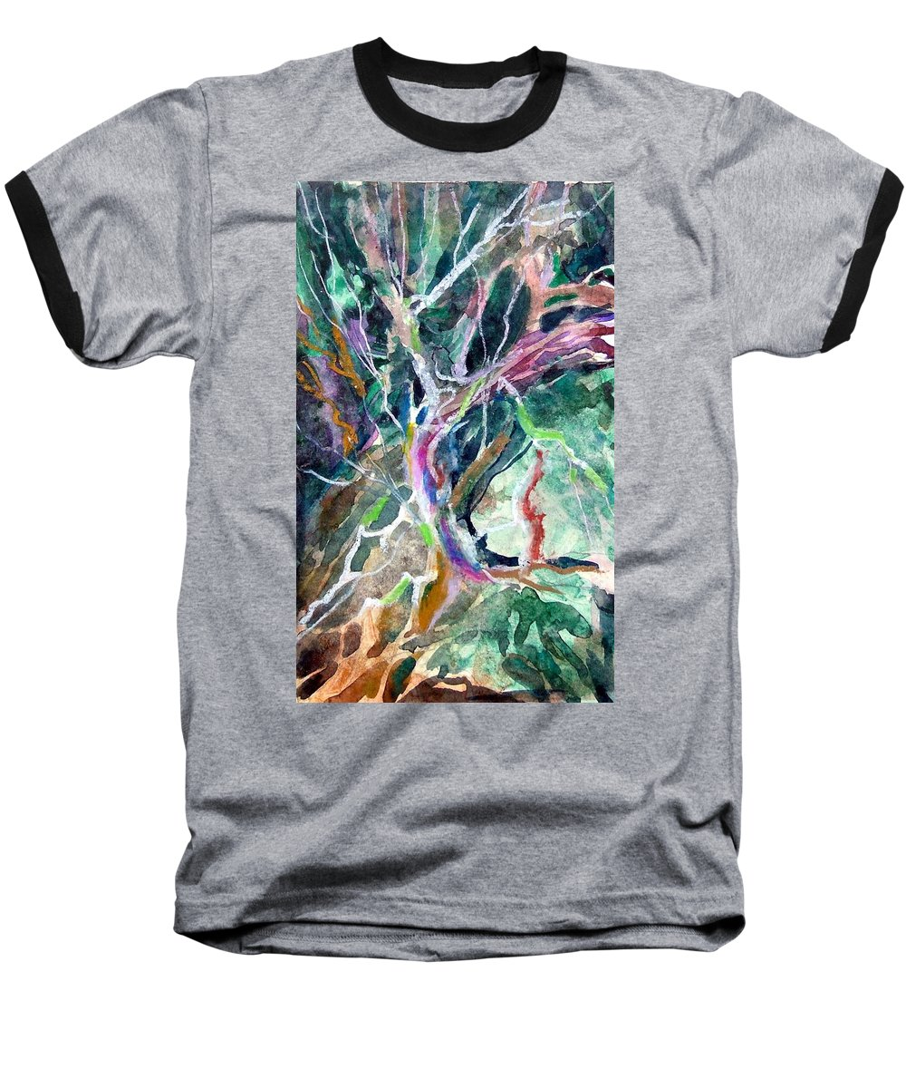 Tree Baseball T-Shirt featuring the painting A Dying Tree by Mindy Newman