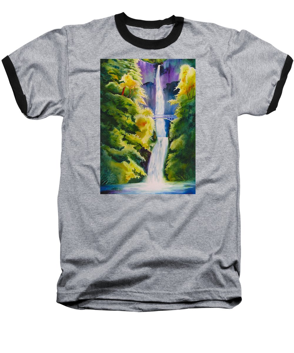 Waterfall Baseball T-Shirt featuring the painting A Favorite Place by Karen Stark