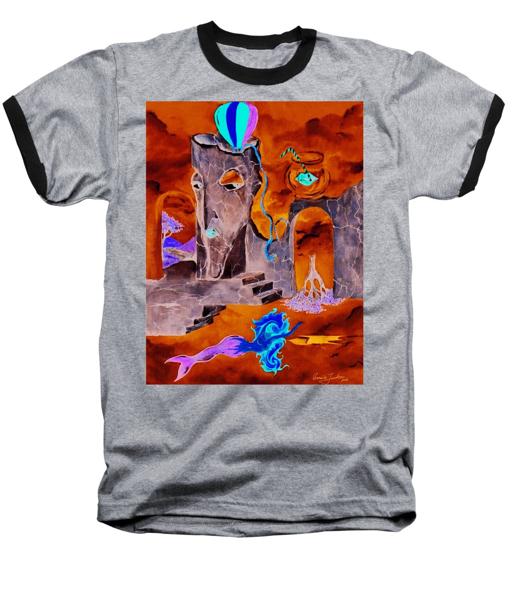 Surreal Sky Mermaids Trees Stairs Heaven Baseball T-Shirt featuring the painting A Few Seconds In My Head by Veronica Jackson