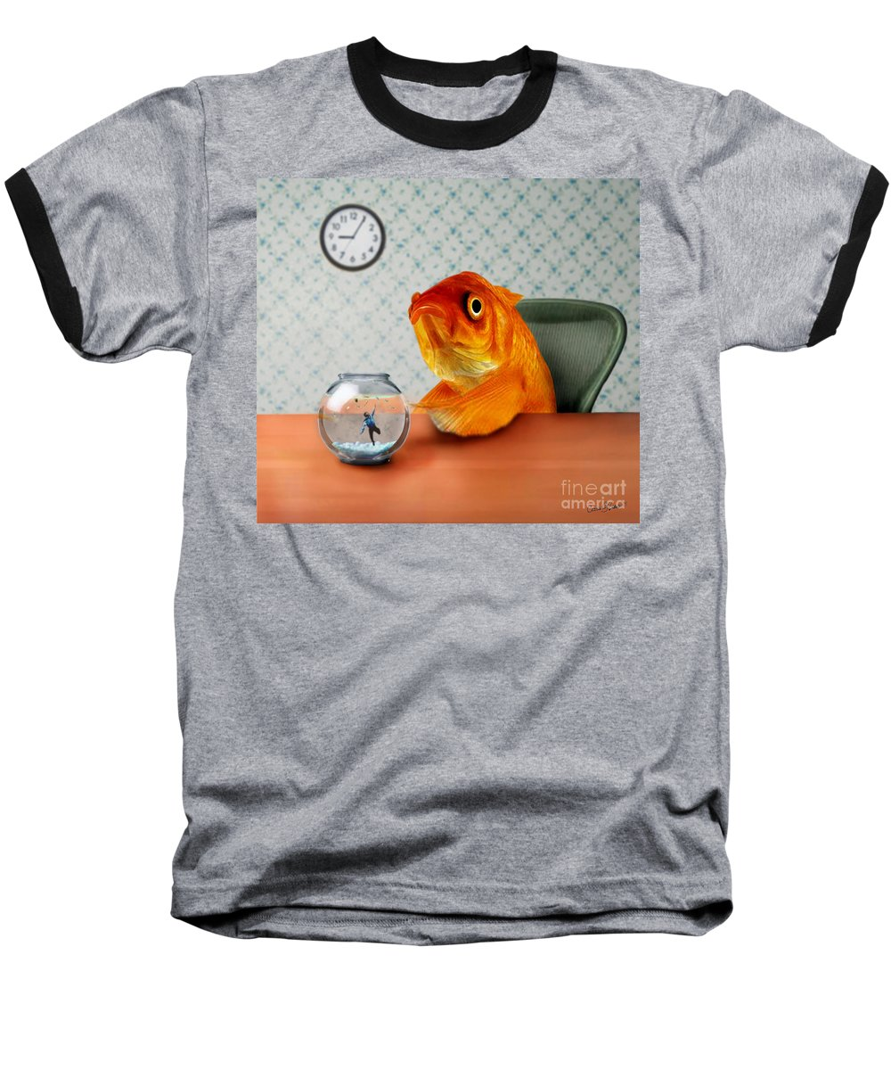 A Fish Out Of Water Baseball T-Shirt featuring the mixed media A Fish Out Of Water by Carrie Jackson