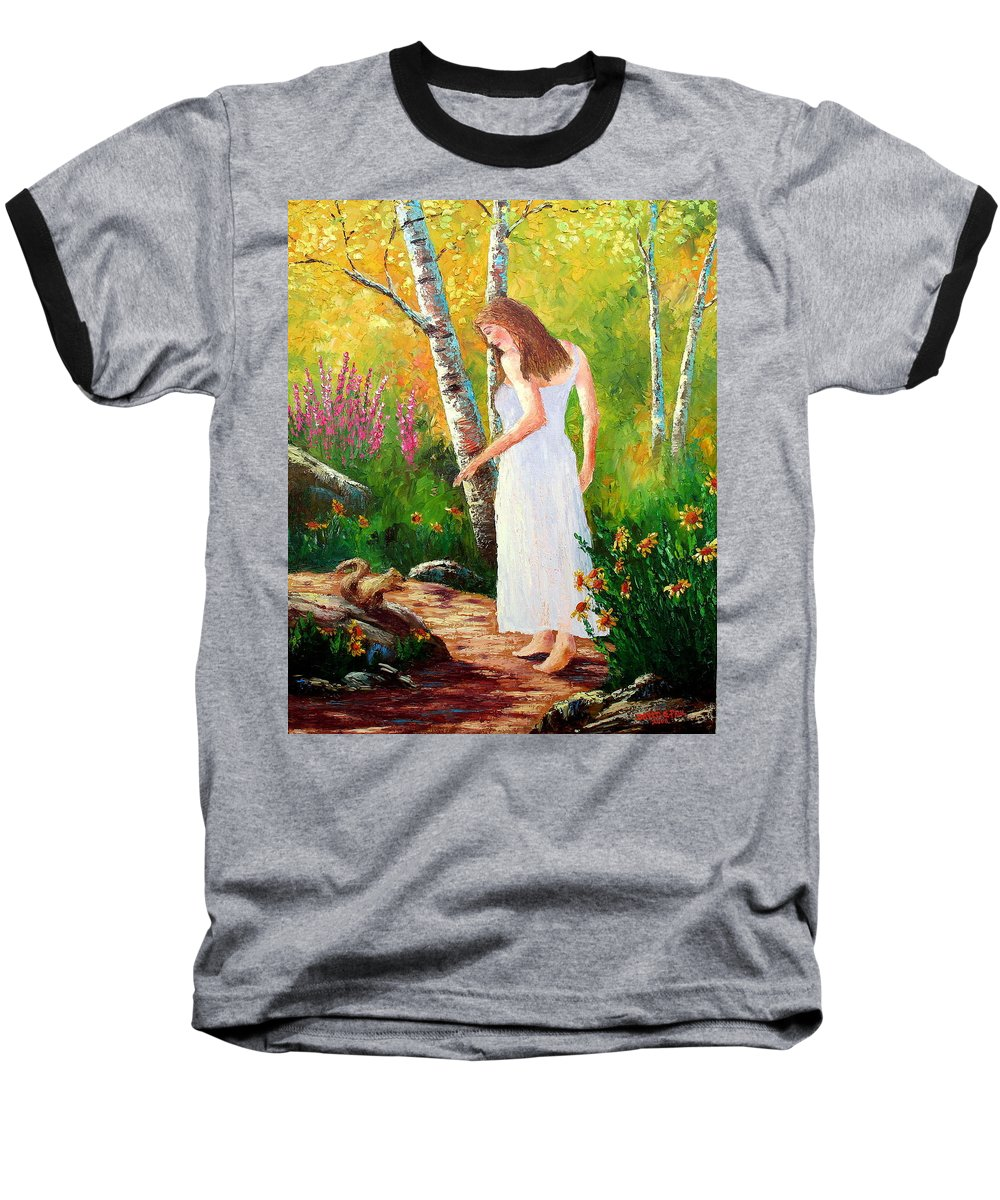 Landscape Baseball T-Shirt featuring the painting A Friendly Greeting by David G Paul