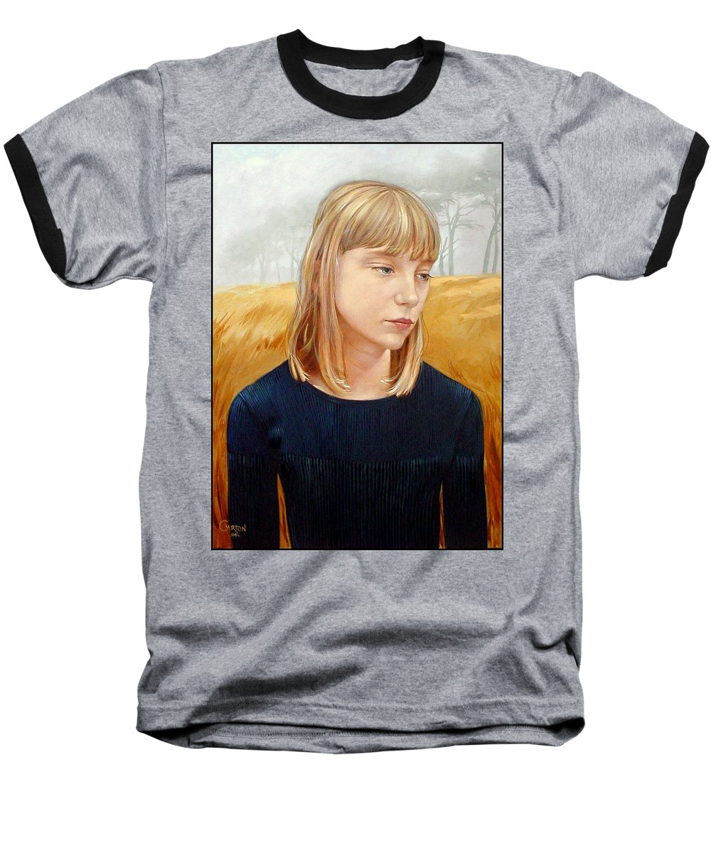 Girl Baseball T-Shirt featuring the painting A Gang Of Crows by Jerrold Carton